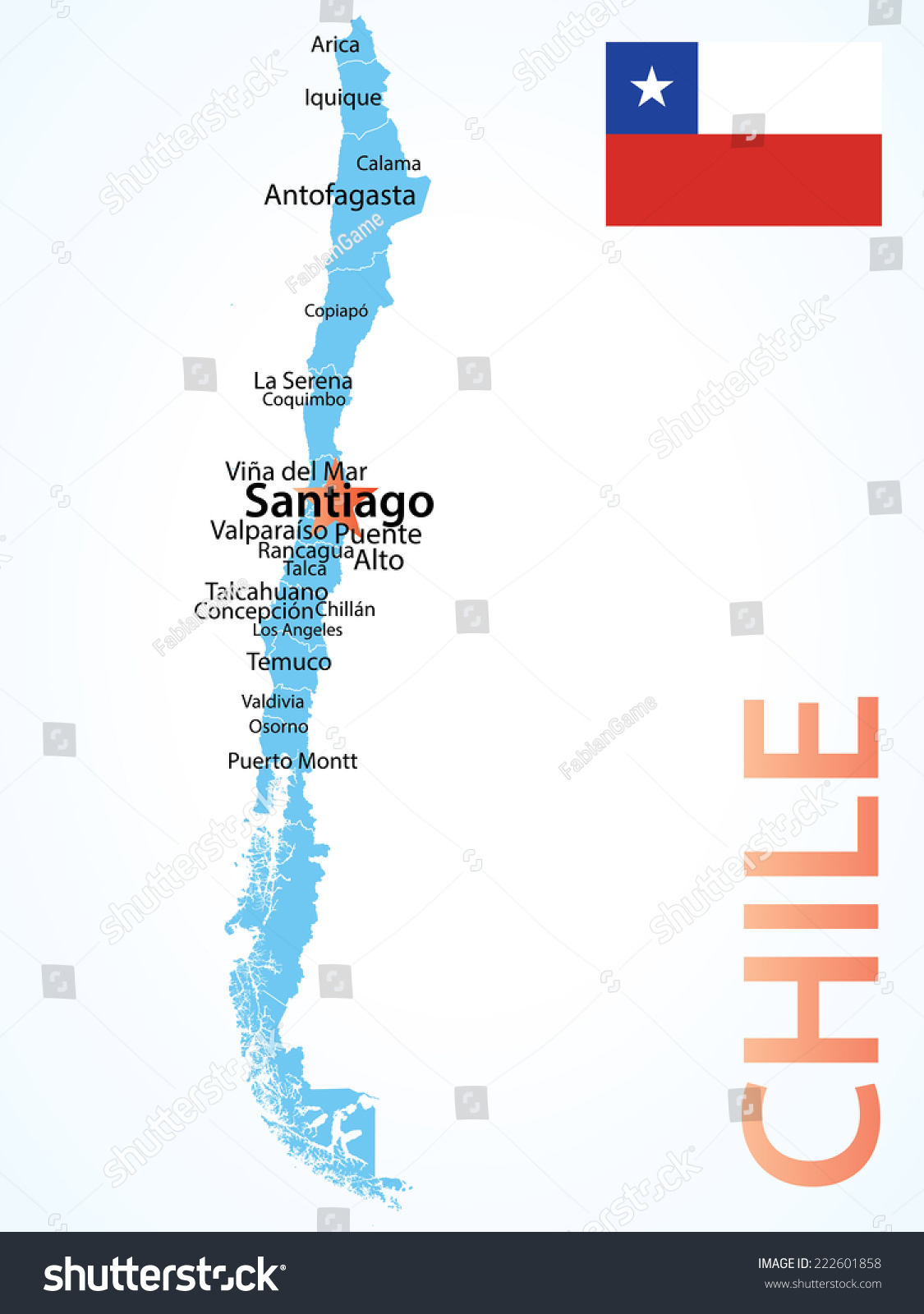 Chile Map Largest Cities Carefully Scaled Stock Vector - Osorno map
