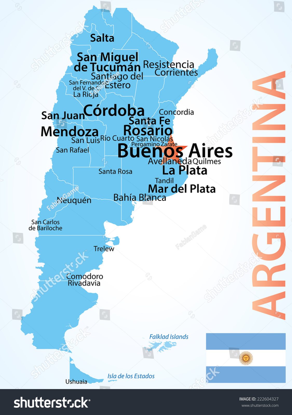 Argentina Map Larget Cities Carefully Scaled Stock Vector