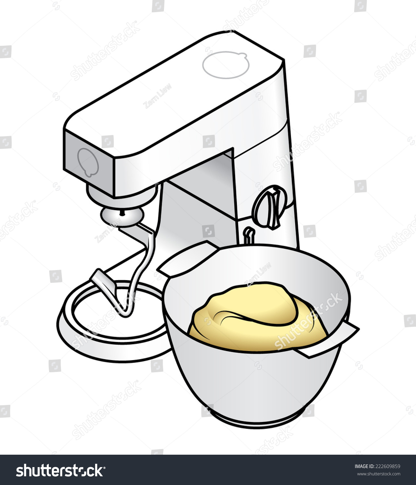White Kitchen Bench Top Mixer Dough Stock Vector 222609859