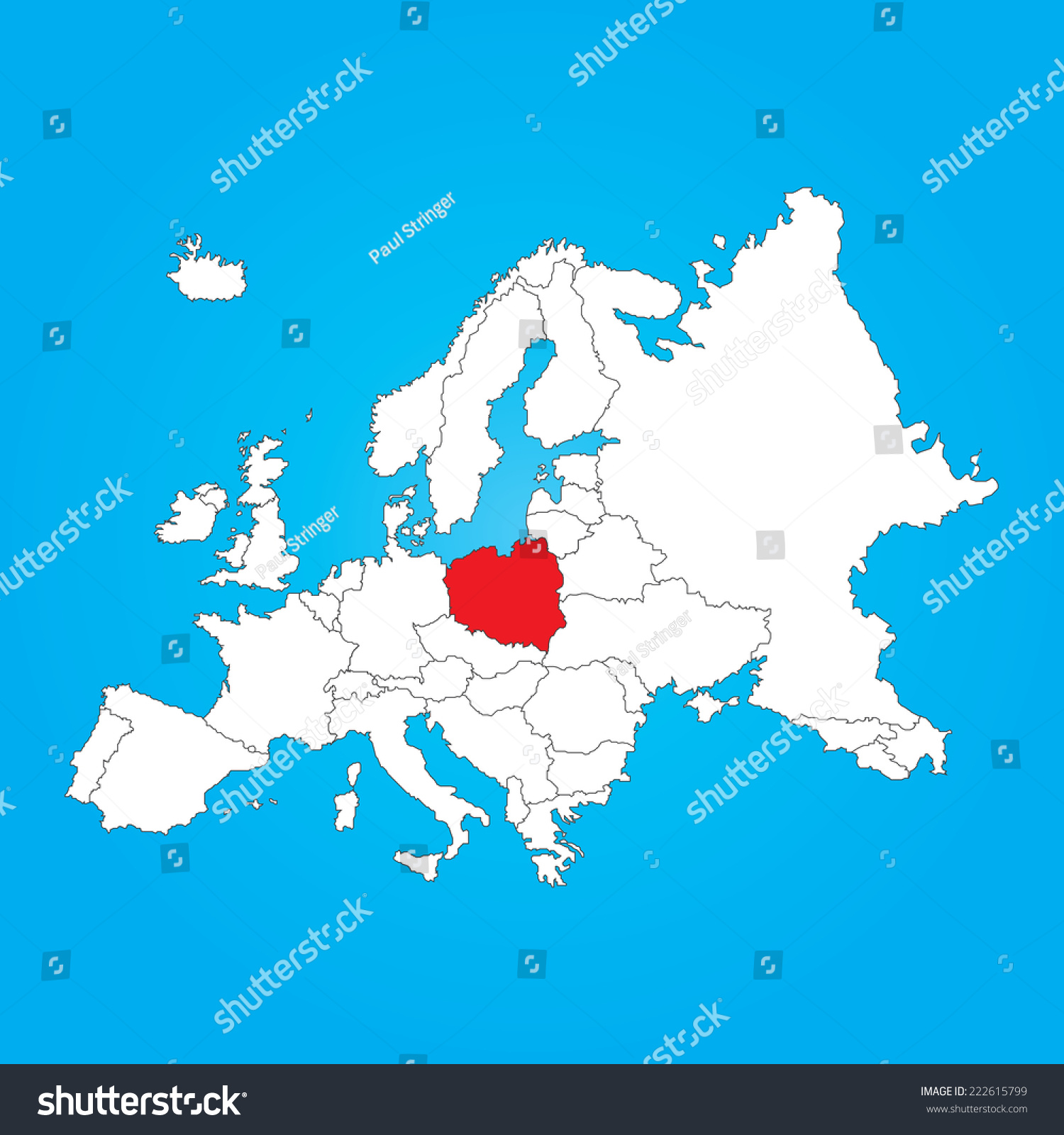 Map Europe Selected Country Poland Stock Vector (Royalty Free ...