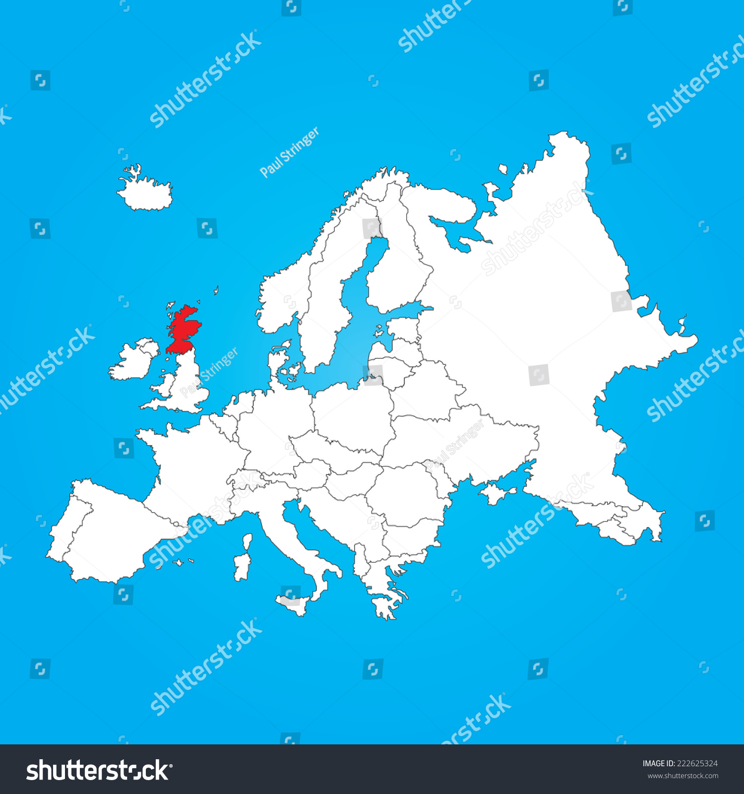 Map Europe Selected Country Scotland Stock Illustration ...