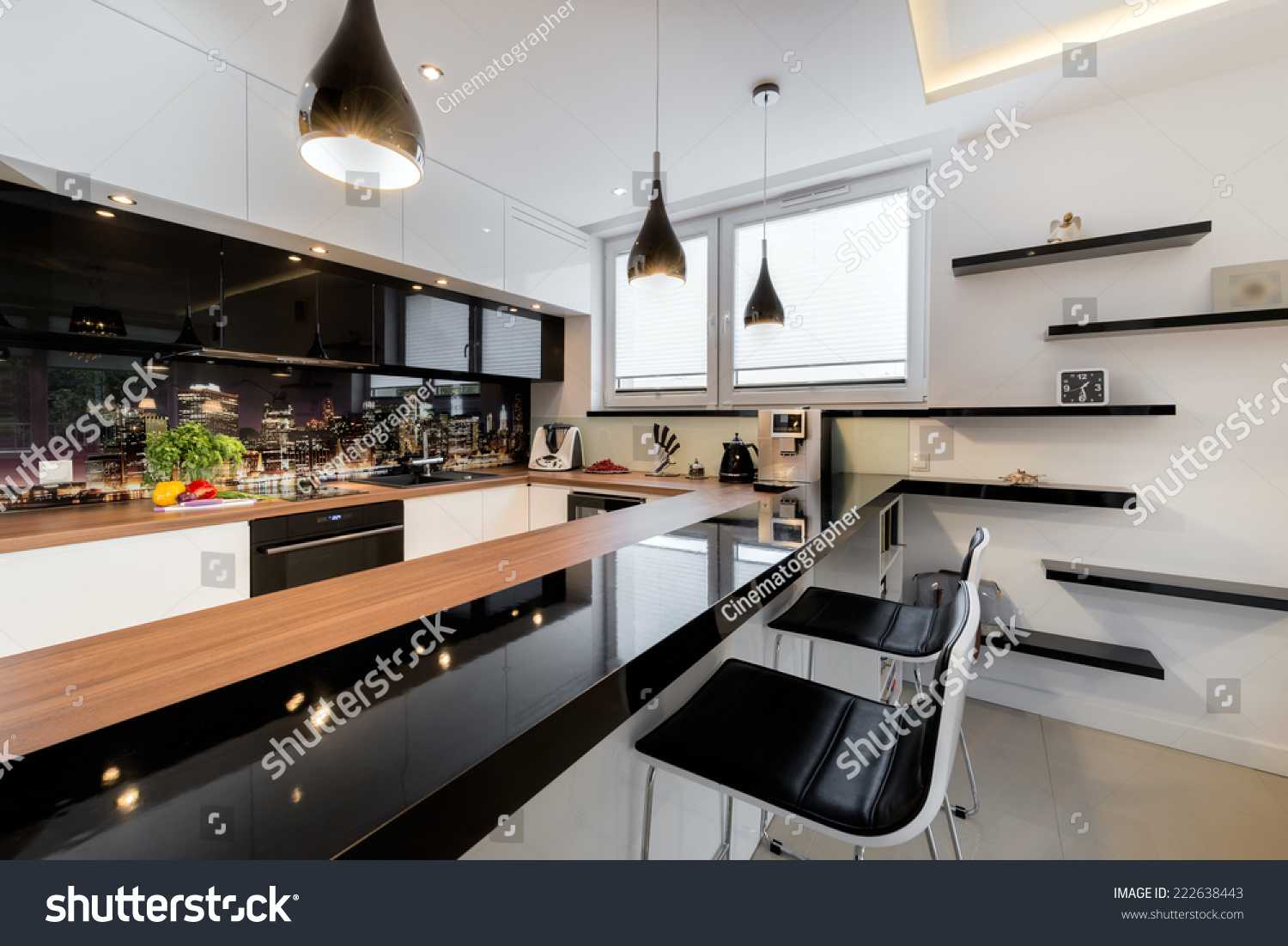 Modern Open Space Luxury Kitchen Black Stock Photo Edit Now 222638443