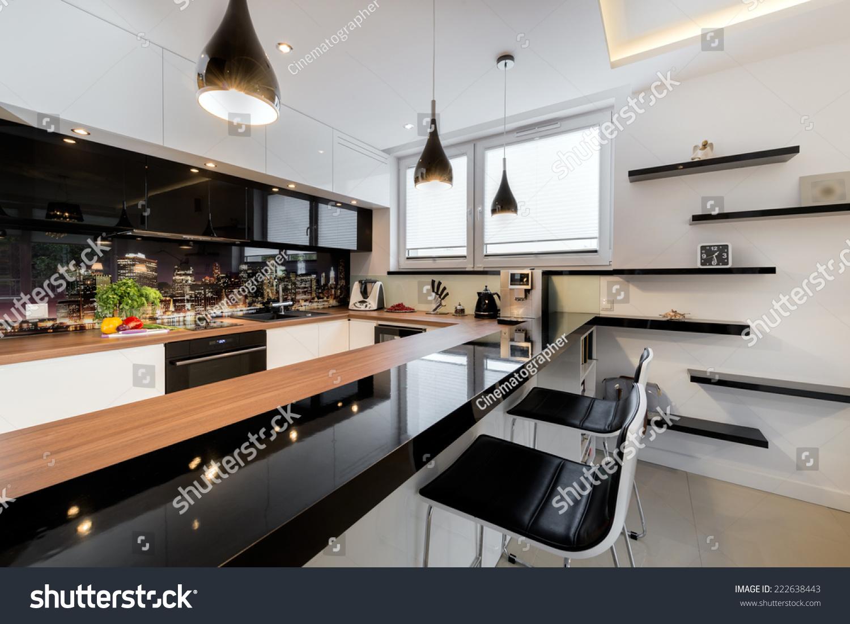 Modern Open Space Luxury Kitchen In Black And White Design