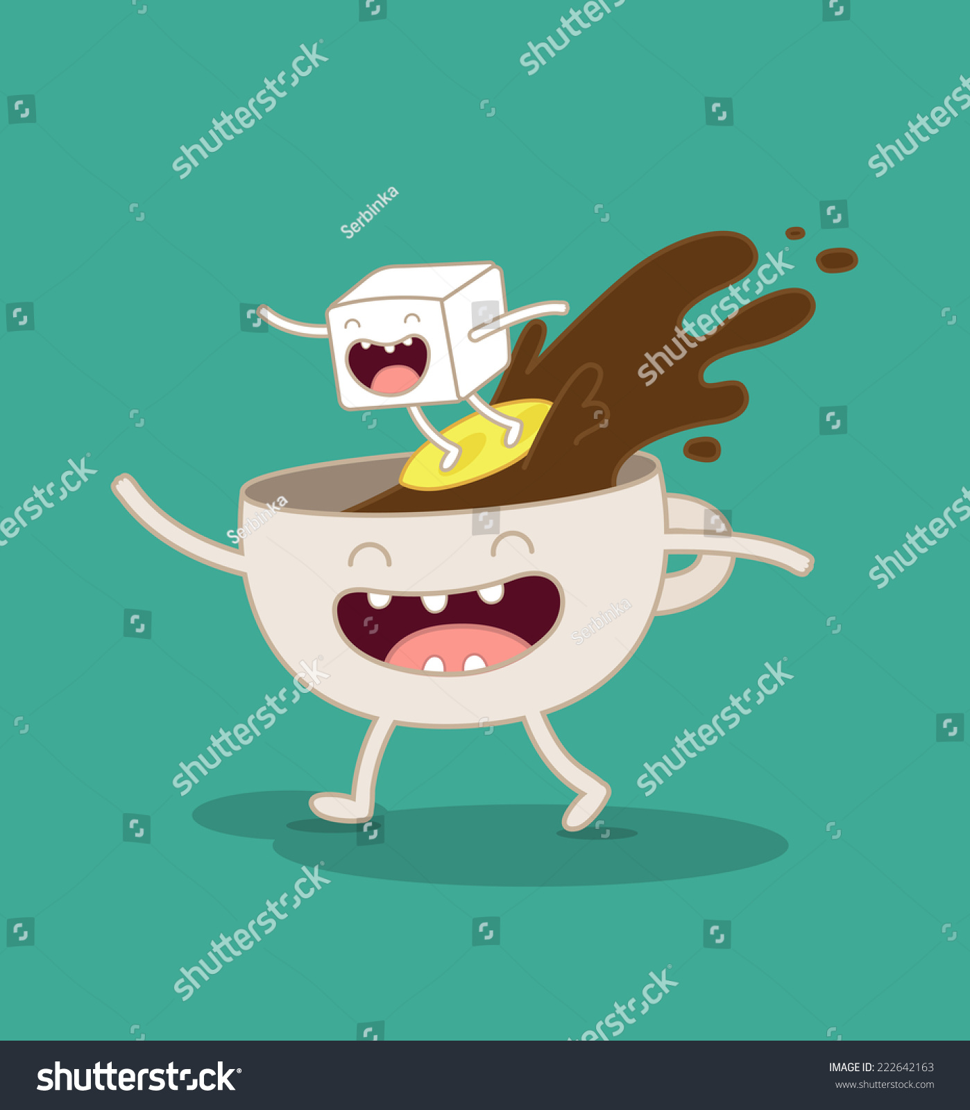 Larger preview vector clip art of a happy yellow coffee cup character - Vector Illustration Of Comic Characters Coffee And Sugar