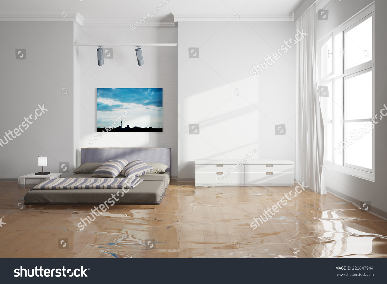 In Bedroom Water Damage In Bedroom After Leak With Wet Bed Stock Photo