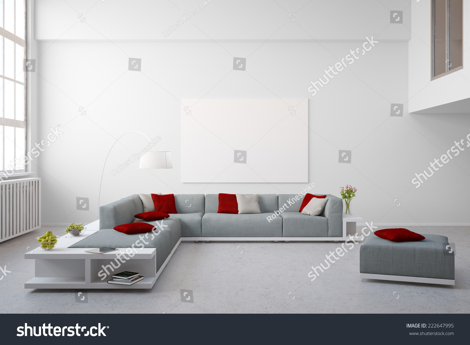 Big Couch Furniture Living Room Bright Stock Illustration 222647995 ...