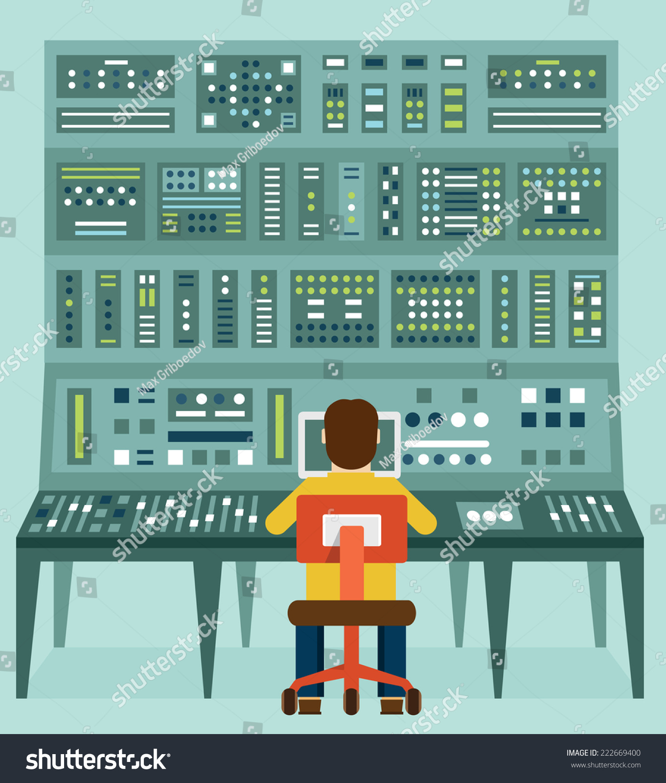 Flat Illustration Of Expert With Control Panel. Analytics