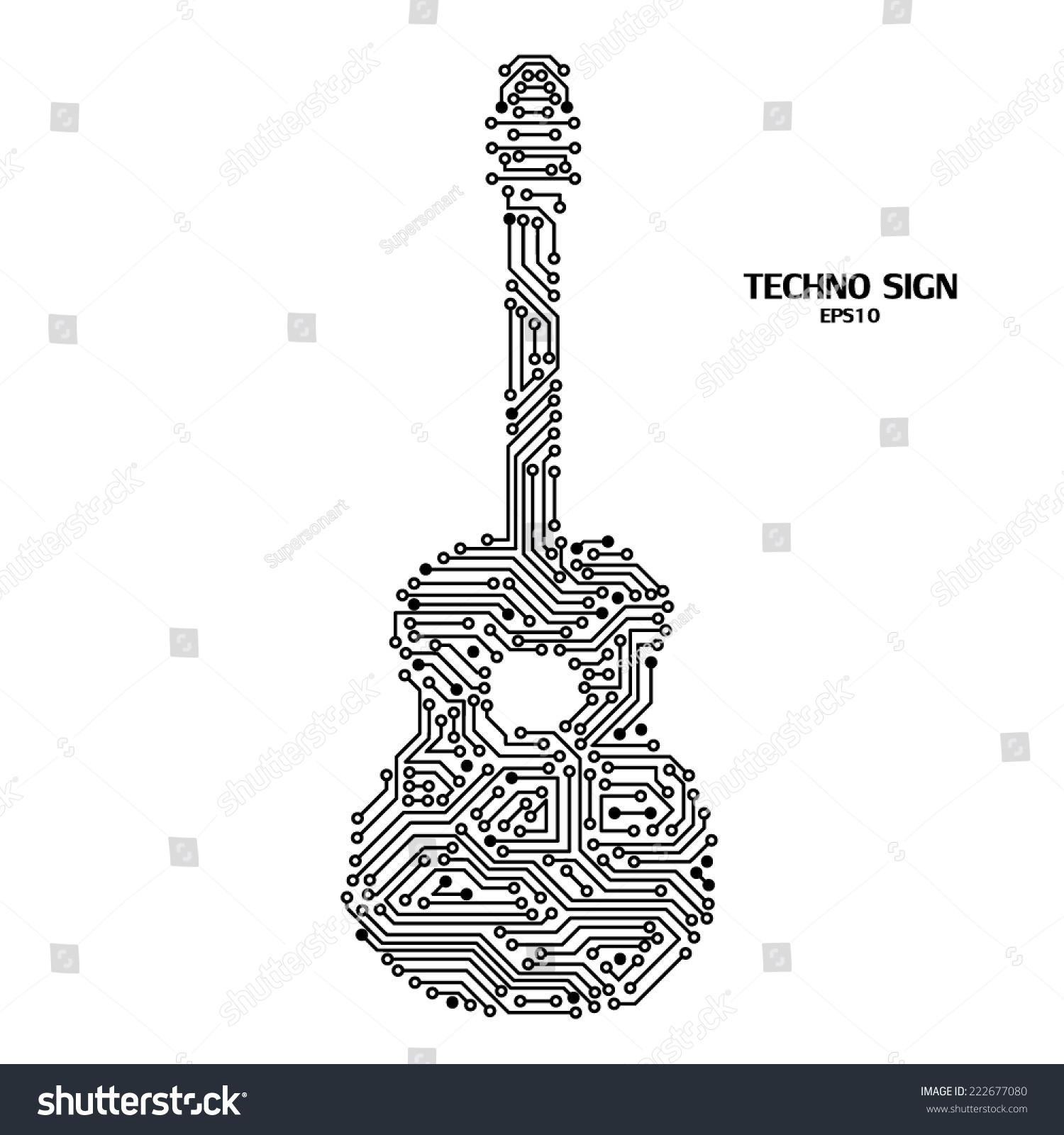 Guitar Circuit Board Pattern Stock Vector 222677080 - Shutterstock