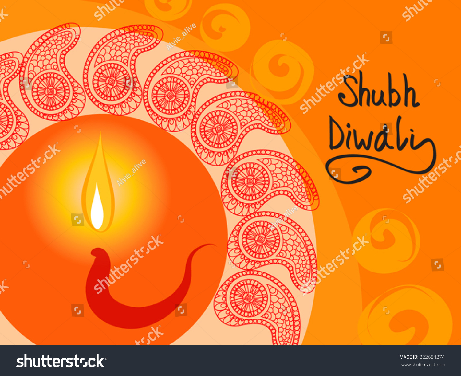 Beautiful Shubh Diwali Happy Diwali Greeting Stock Vector Royalty