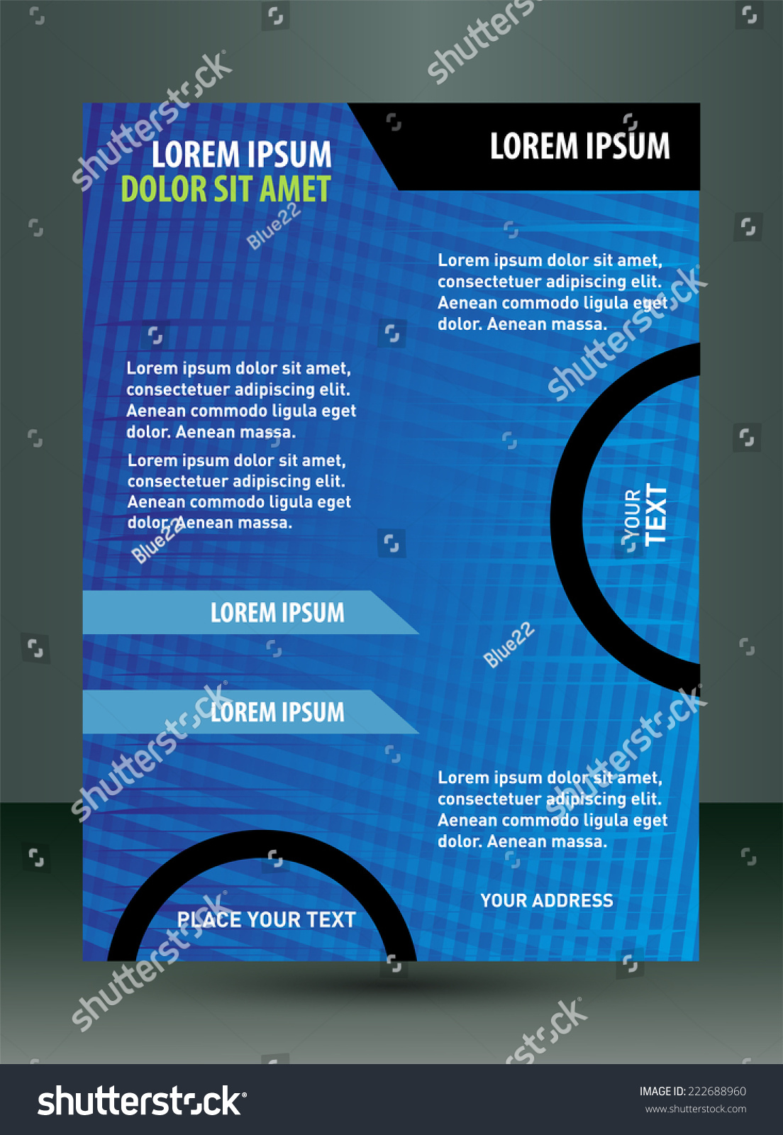 Business Flyer Template, Cover Design With Blue
