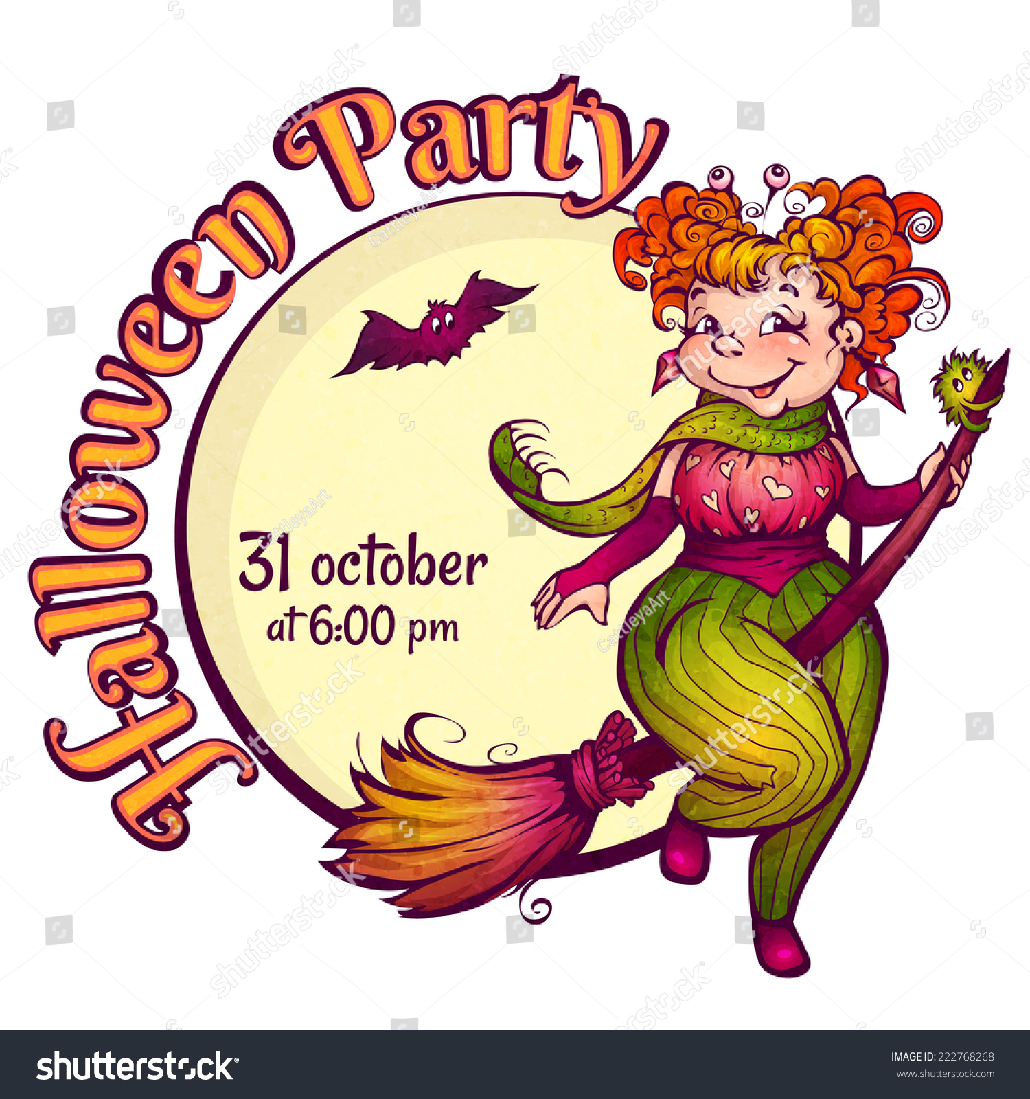 Invitation Halloween Party Fun Witch On Stock Vector HD (Royalty ...