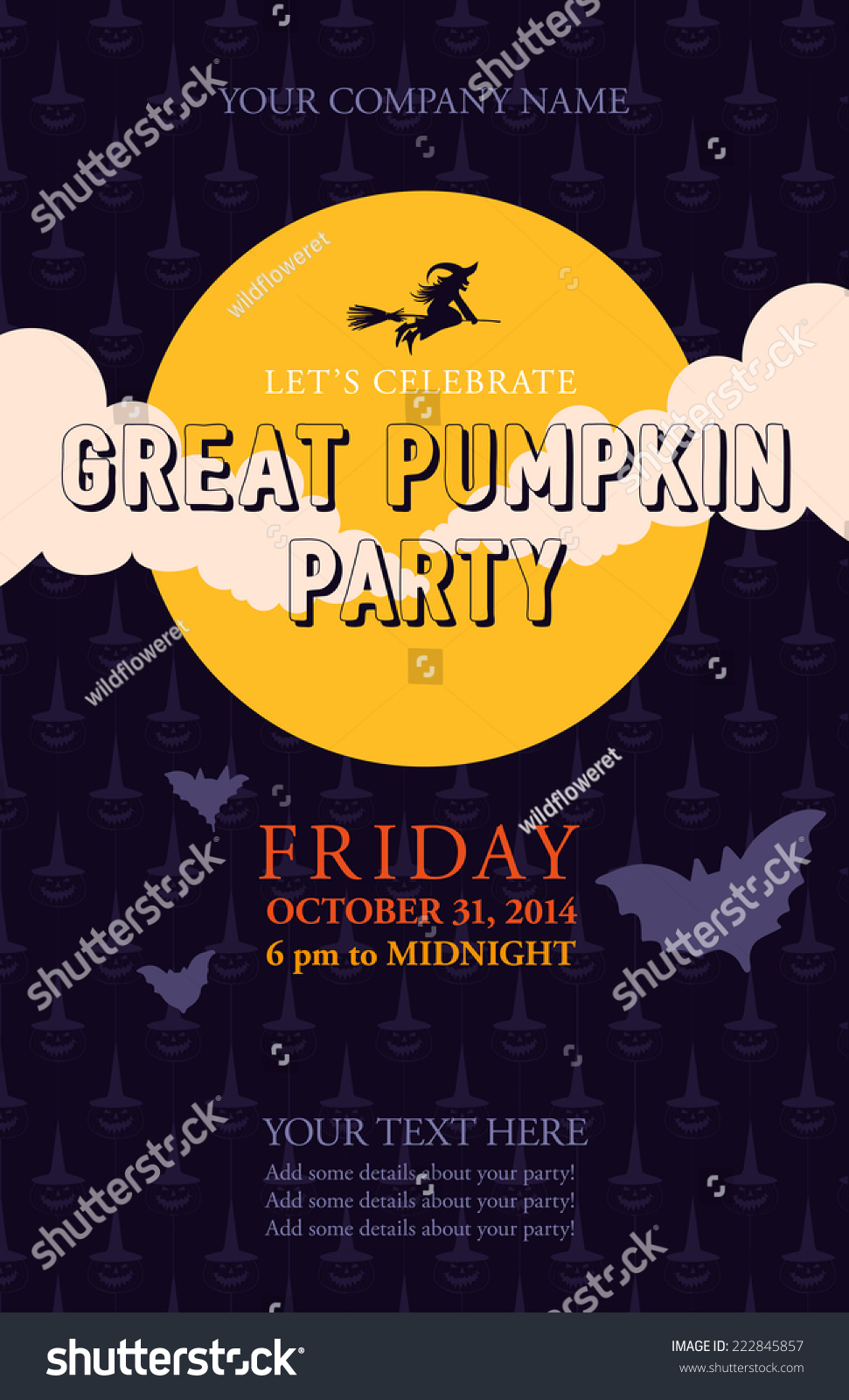 Halloween Event Poster Template Your Design Stock Vector ...