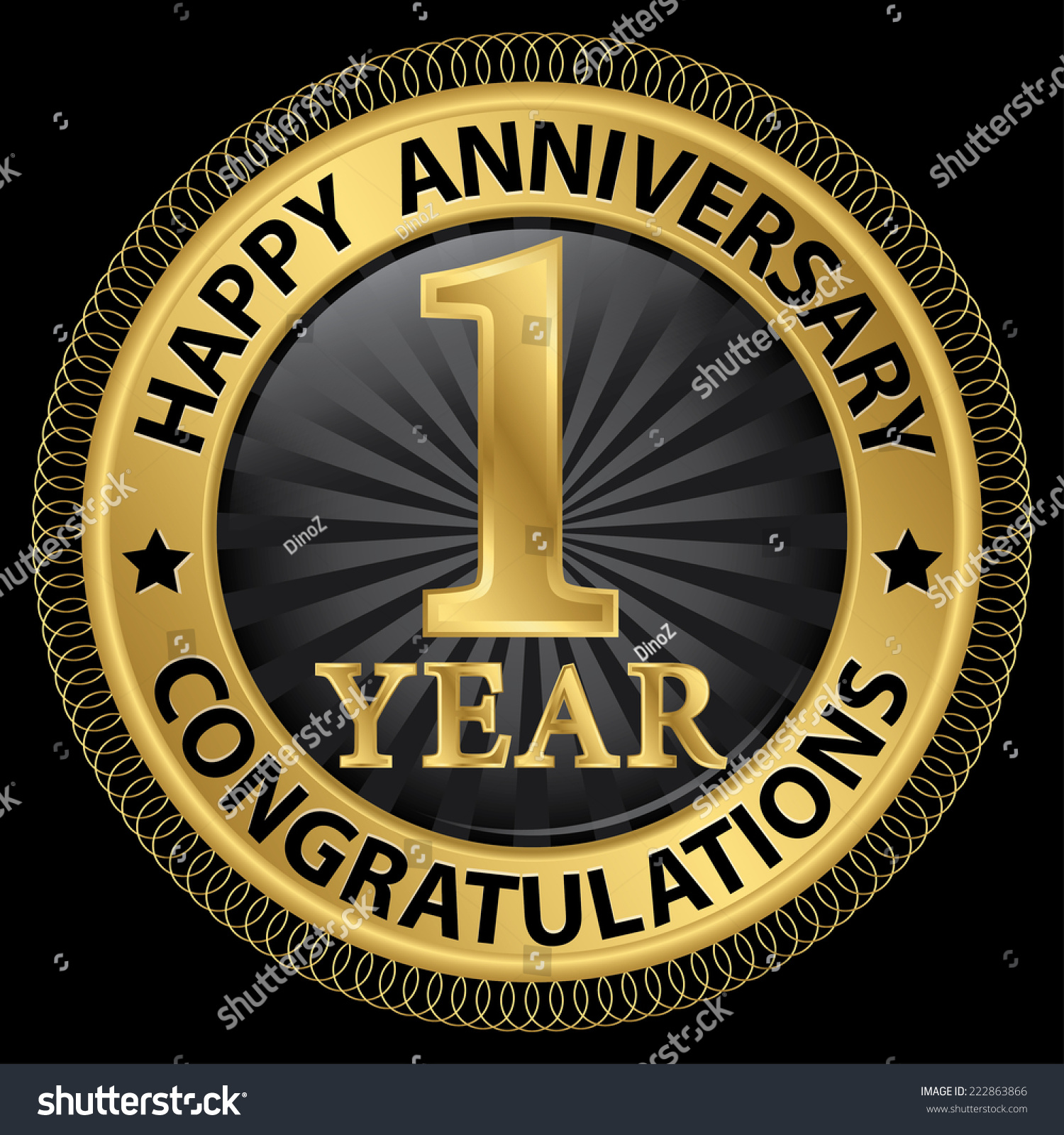 1 Year Happy Anniversary Congratulations Gold Stock Vector 222863866 Shutterstock