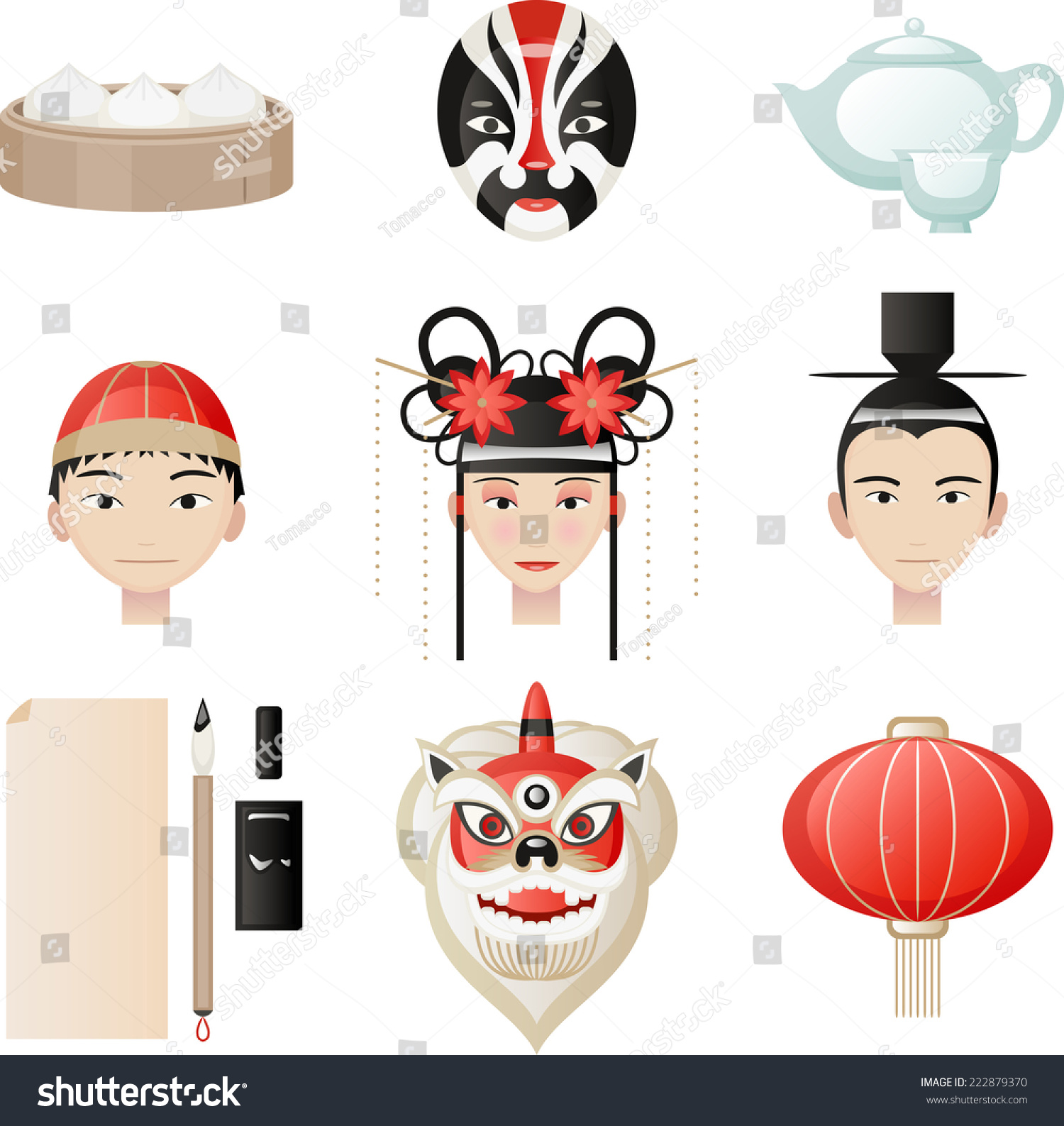 Chinese culture elements rice ball masks stock vector 222879370 chinese culture elements rice ball masks tea pot tea cup mandarin buycottarizona Images