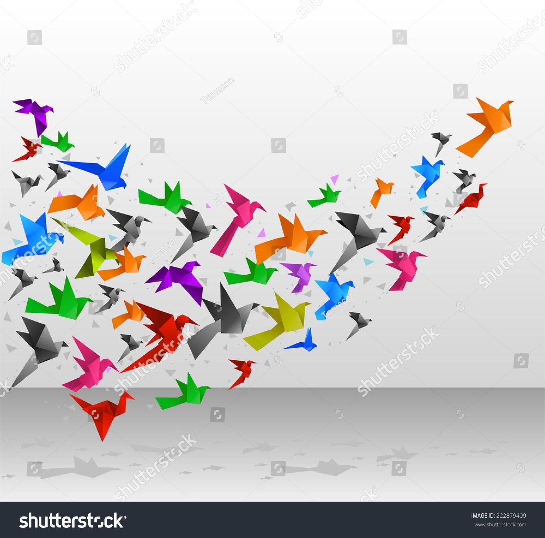 Stock Vector Origami Birds Flying Upwards Vector Illustration