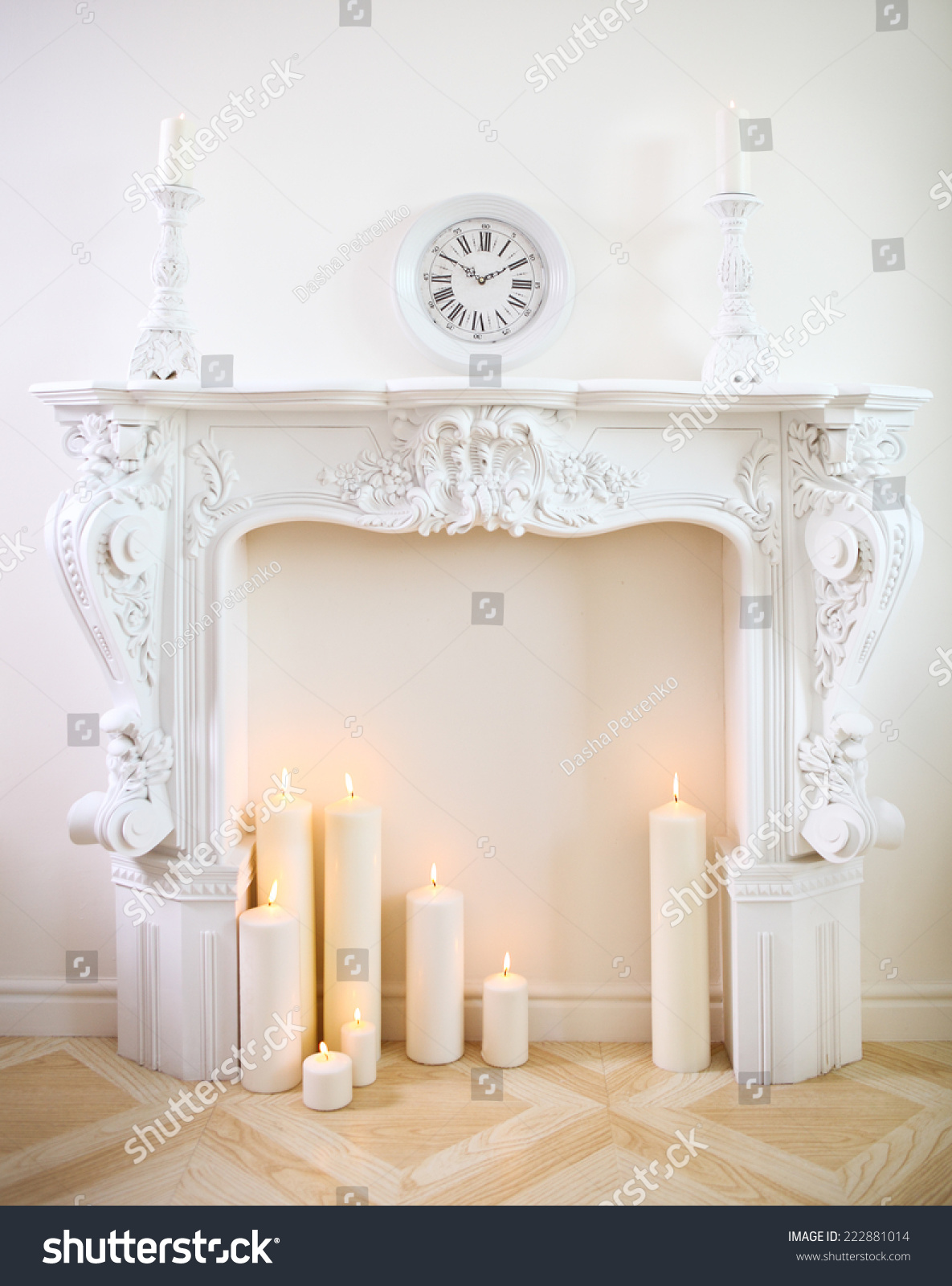 White Decorative Fireplace Candles Stock Photo Edit Now 222881014