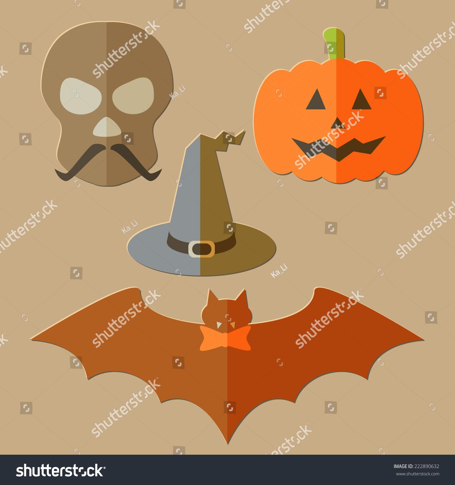 flat scull pumpkin hat bat evil stock vector 222890632 shutterstock