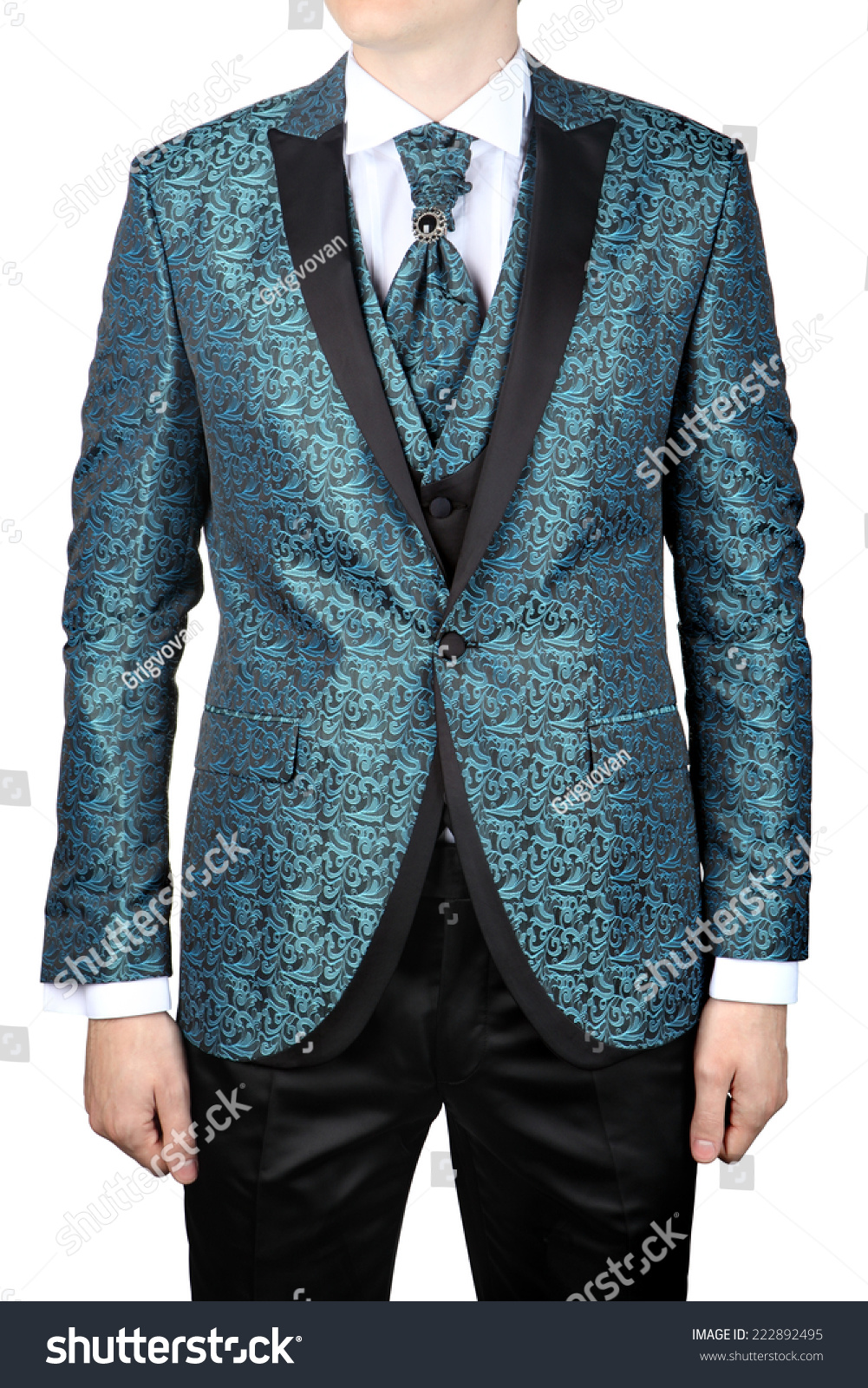 Wedding Turquoise Floral Ornaments Mens Suit Stock Photo (Safe to ...