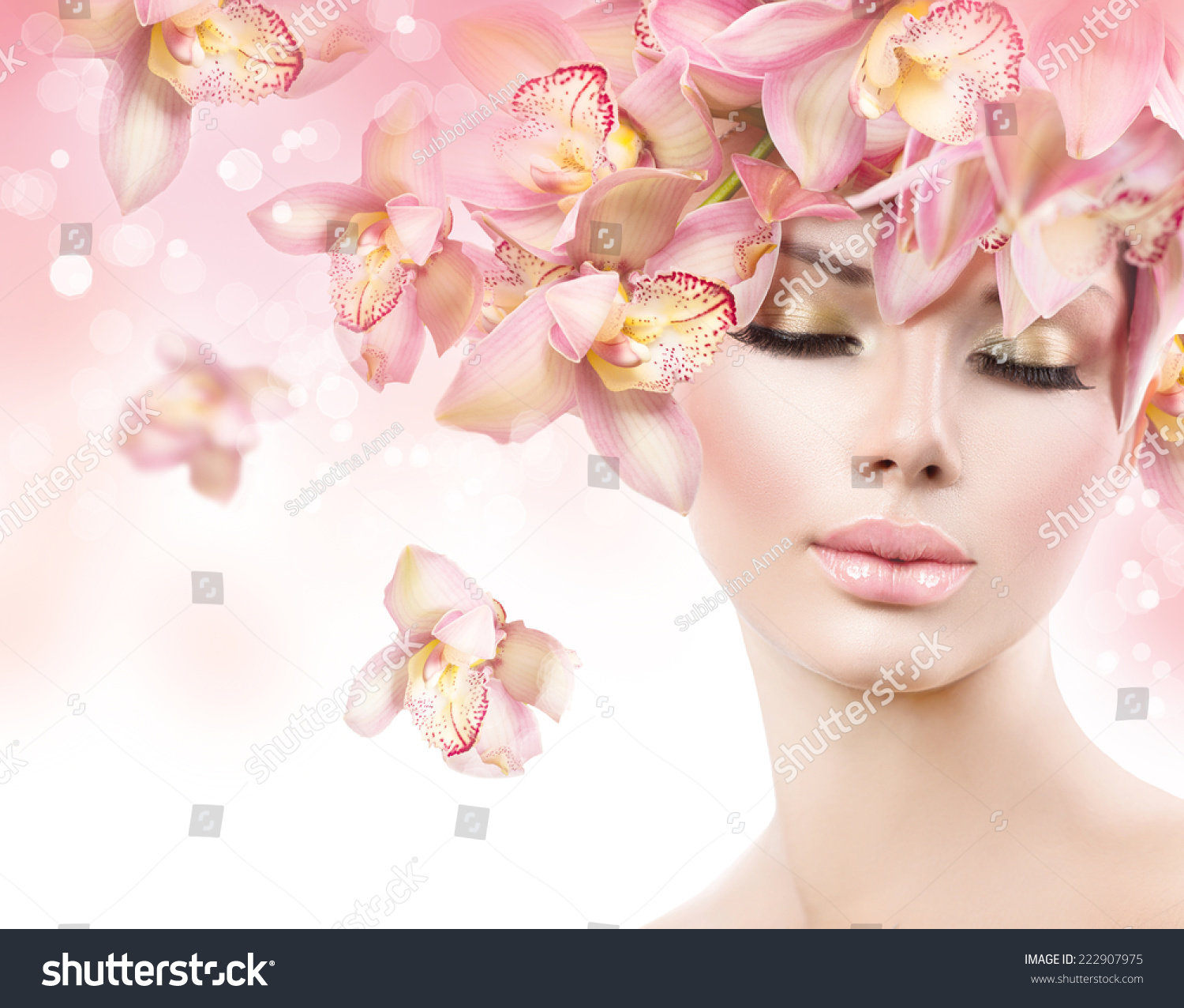 Fashion Beauty Model Girl Orchid Flowers Stock Photo