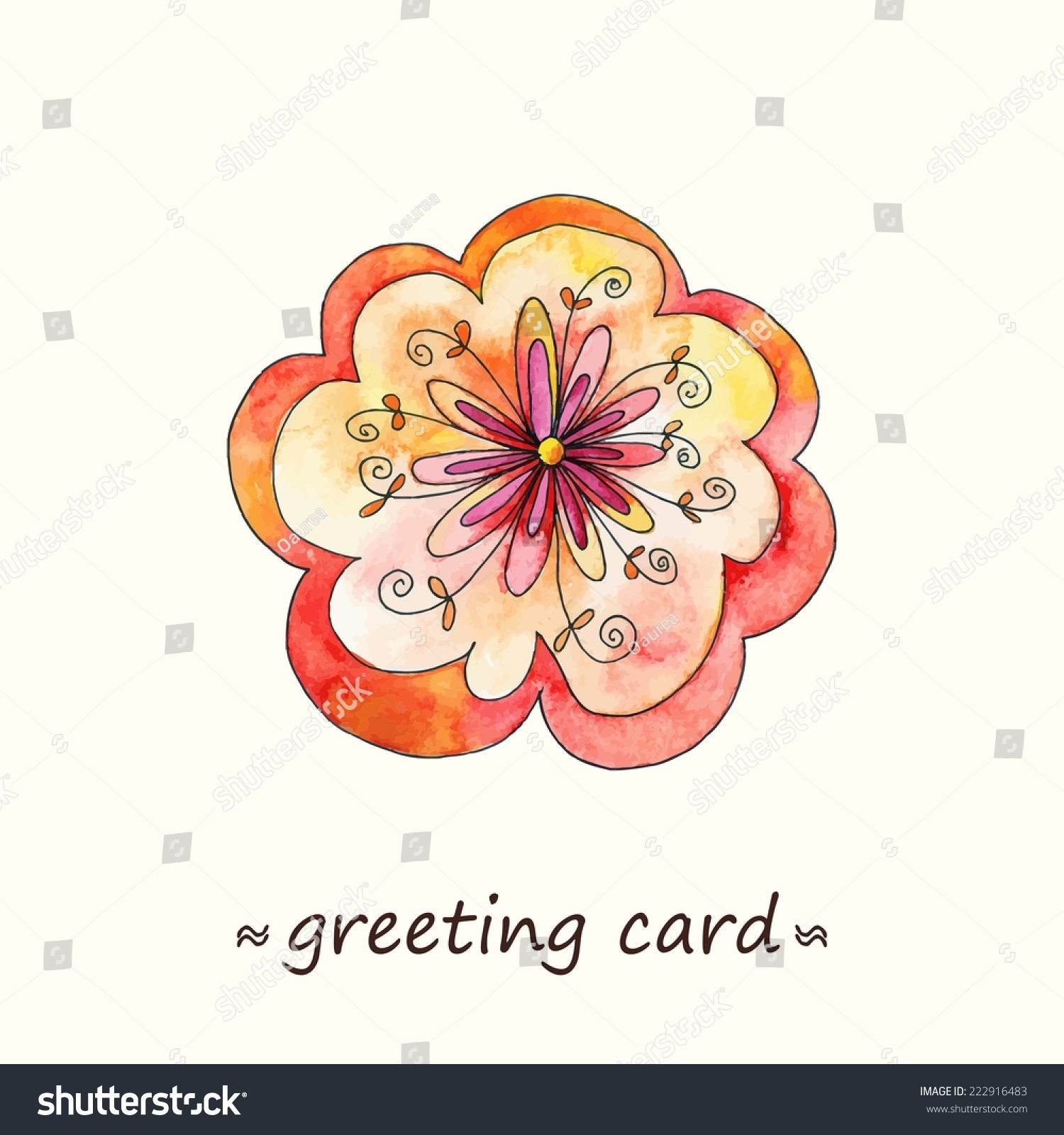 Paint Flower Birthday Card Watercolor Flower Stock Vector