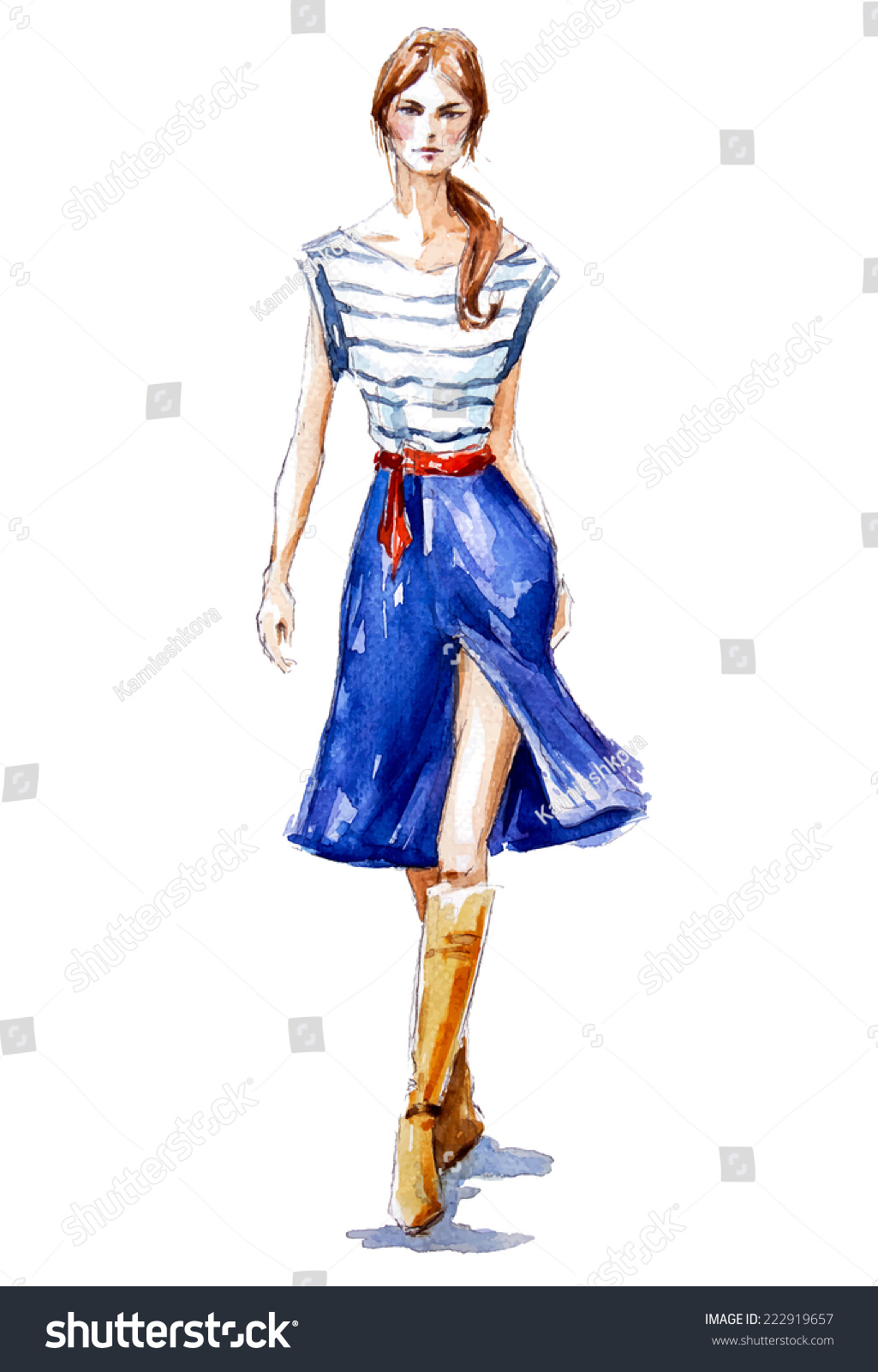 Street Fashion Girl Walking Summer Look Stock Vector