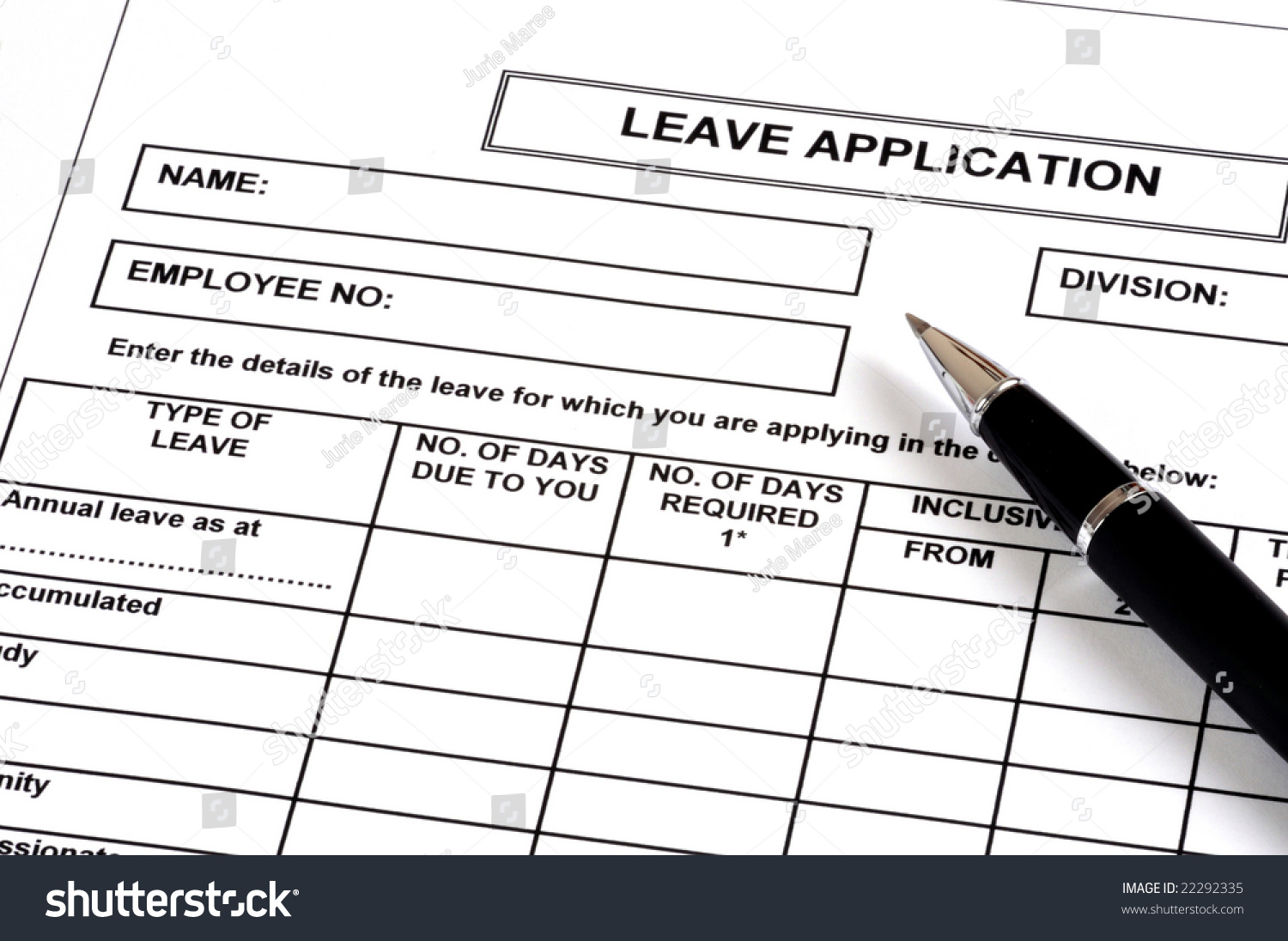 Leave Application Photo 22292335 Shutterstock – Leave Application