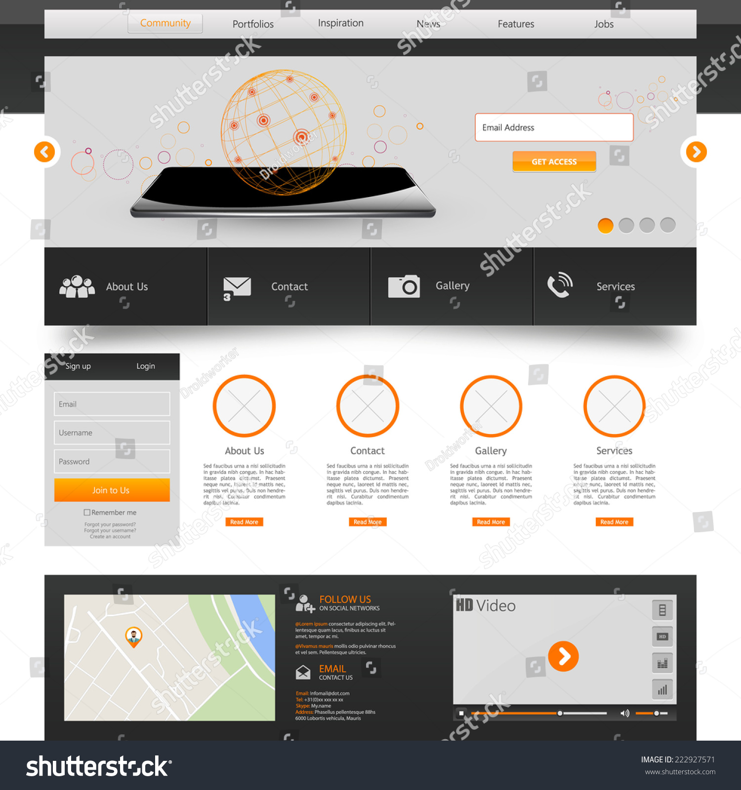 website template vector illustration stock vector 222927571 shutterstock. Black Bedroom Furniture Sets. Home Design Ideas