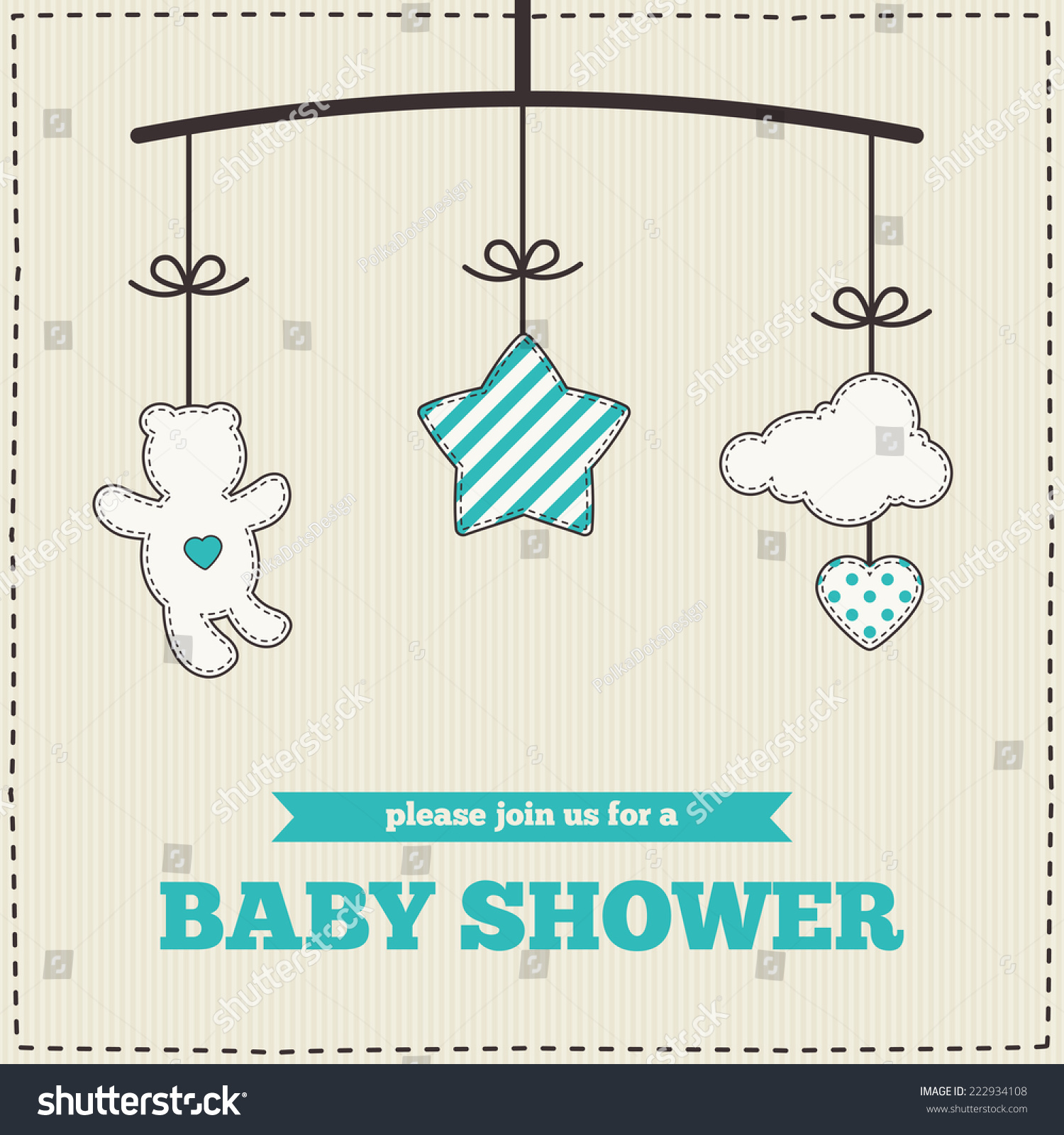Baby Shower Invitation Template Blue White Stock Vector 222934108 ...