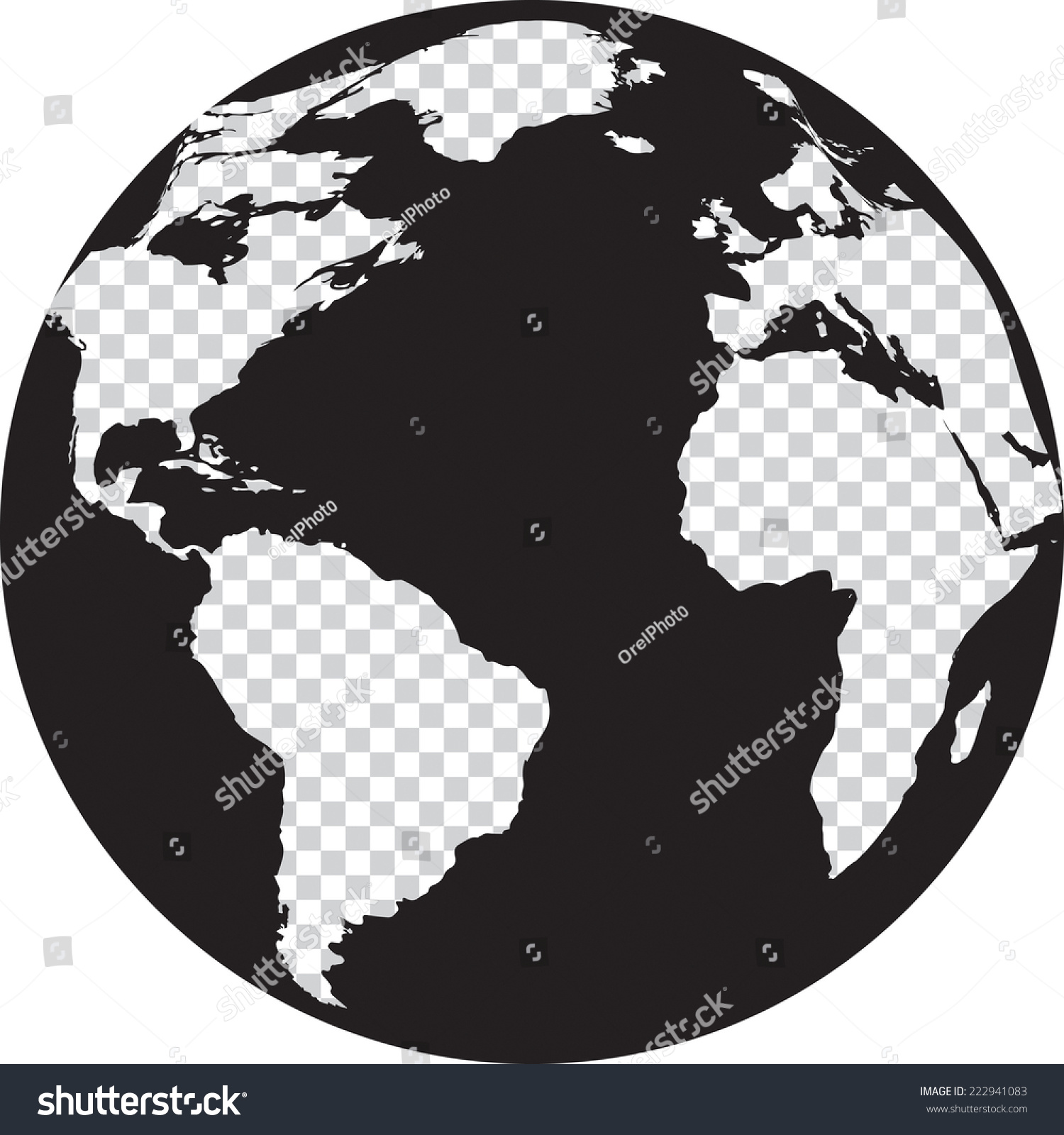 Black White Globe Transparency On Continents Stock Vector ...