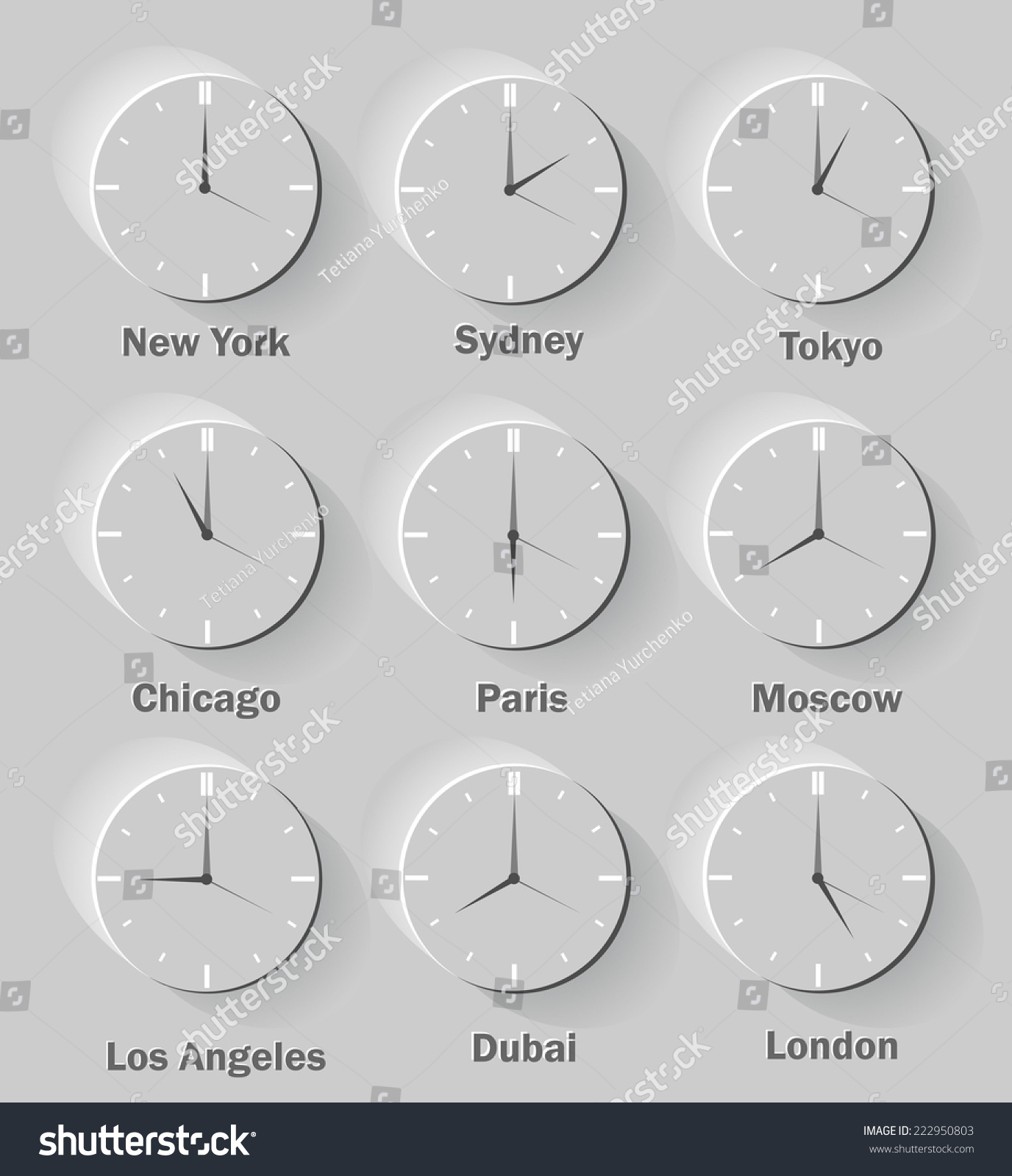 world clock time difference major cities stock illustration