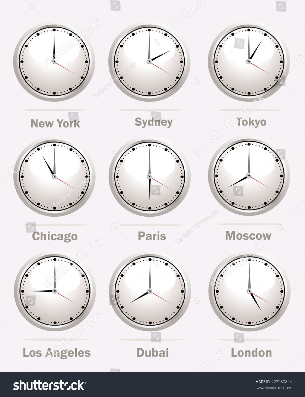 World clock time difference major cities stock illustration world clock time difference in major cities amipublicfo Choice Image