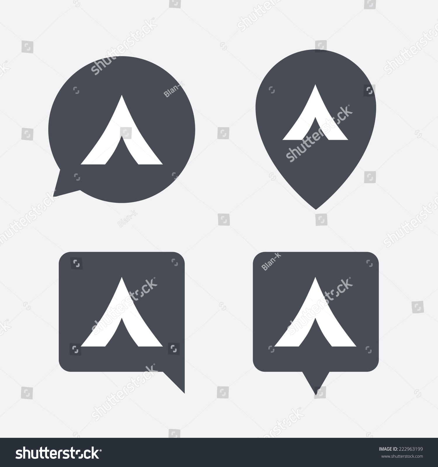 Tourist Tent Sign Icon Camping Symbol Stock Illustration 222963199