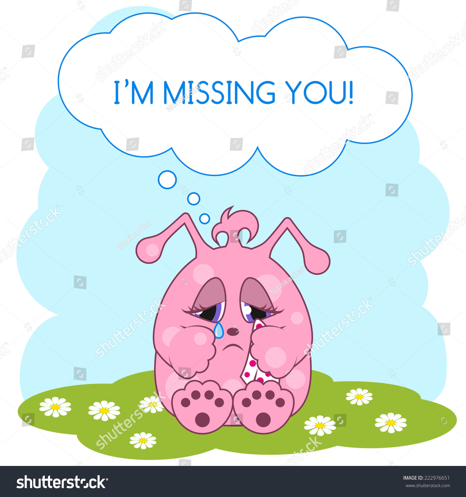 Cute pink monster missing you greeting stock vector 222976651 cute pink monster is missing you greeting card vector illustration kristyandbryce Image collections