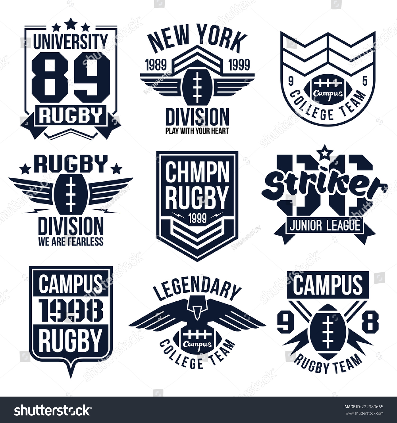 Design t shirt rugby - College Rugby Team Emblems In Retro Vintage Style Graphic Design For T Shirt