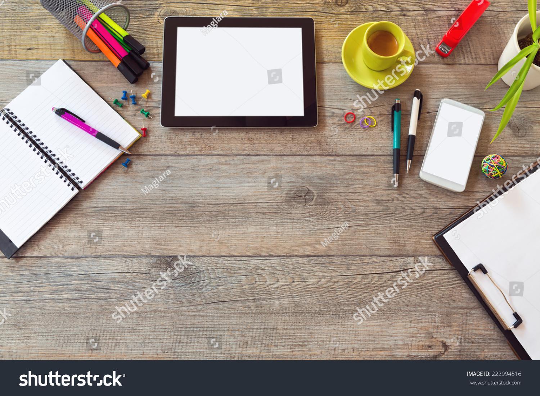 Office Desk Mock Template Table Smart Stock Photo