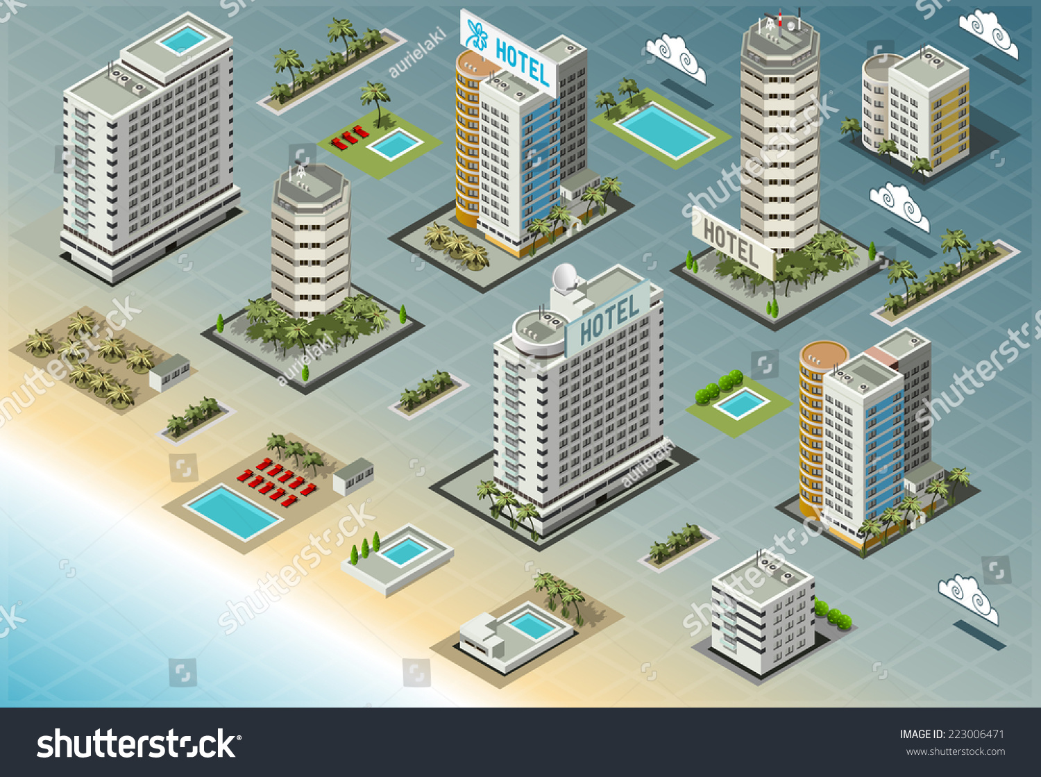Isometric building city palace home real stock vector for Design hotel games