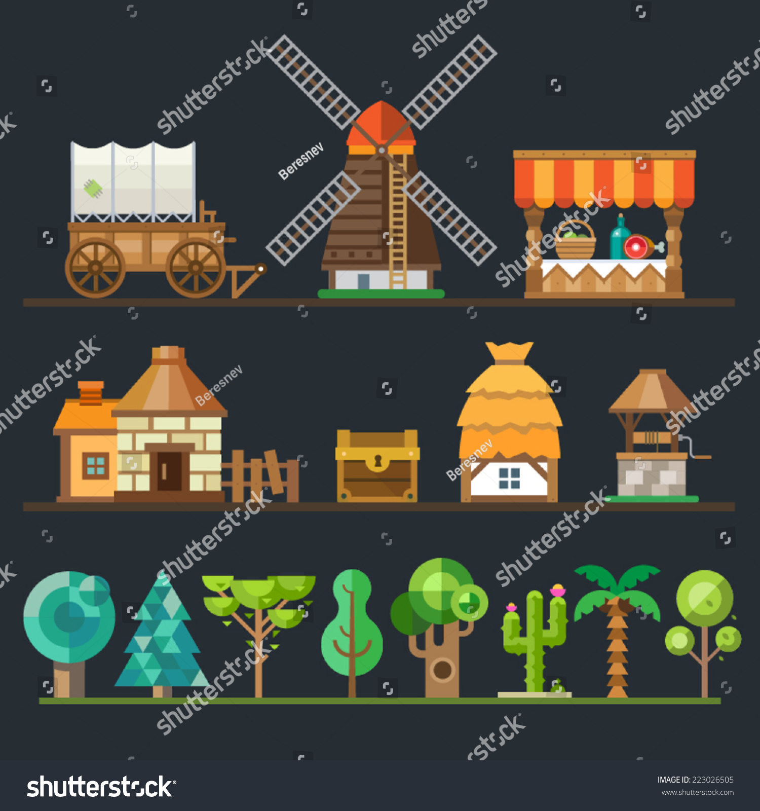 Royalty Free Old Village Different Objects Sprites 223026505 Stock Photo