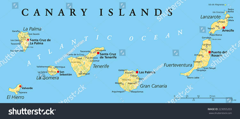 Canary Islands Political Map Lanzarote Fuerteventura