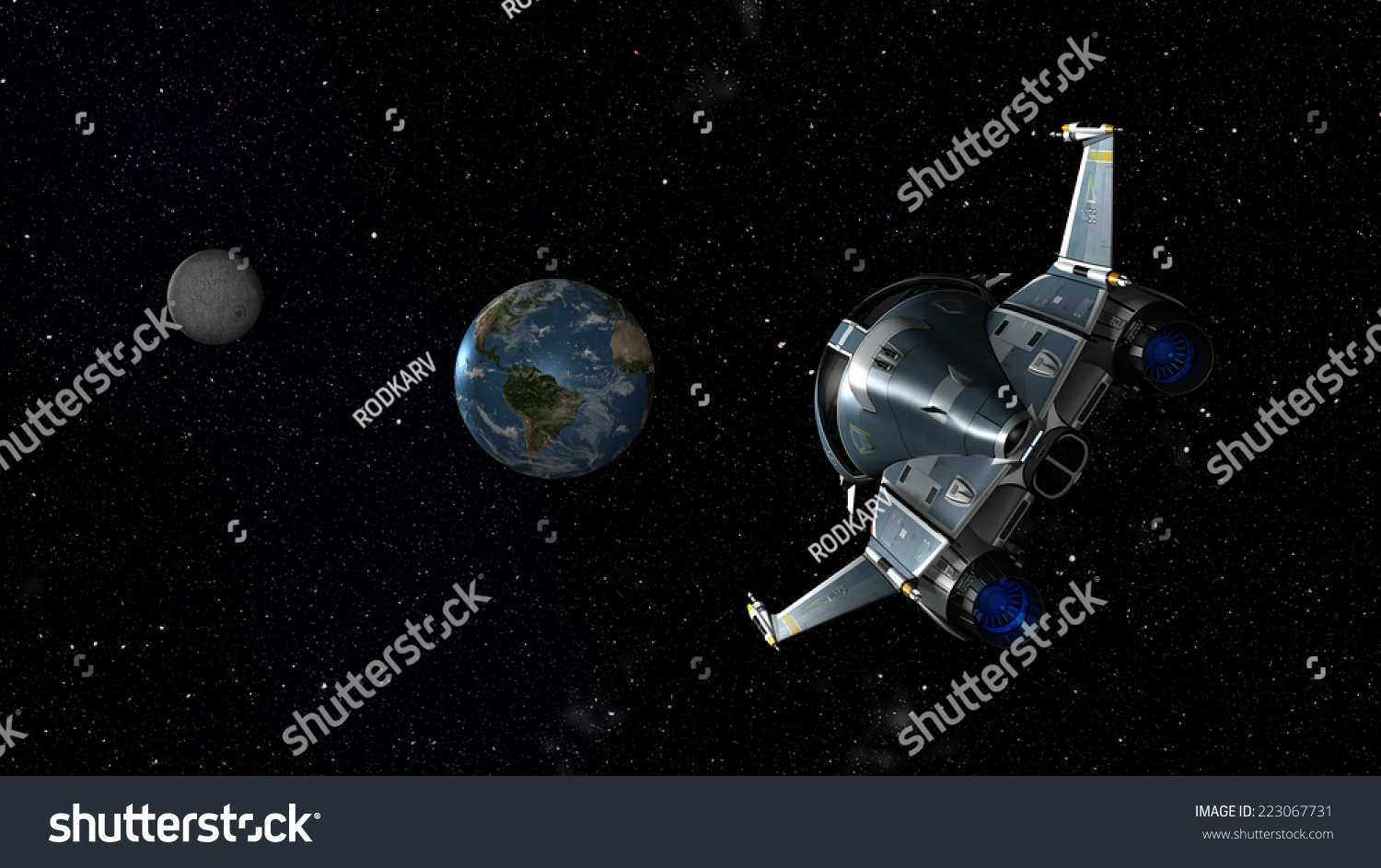 Space Shuttle Approaching Earth And Moon. 3d Scene . Some ...