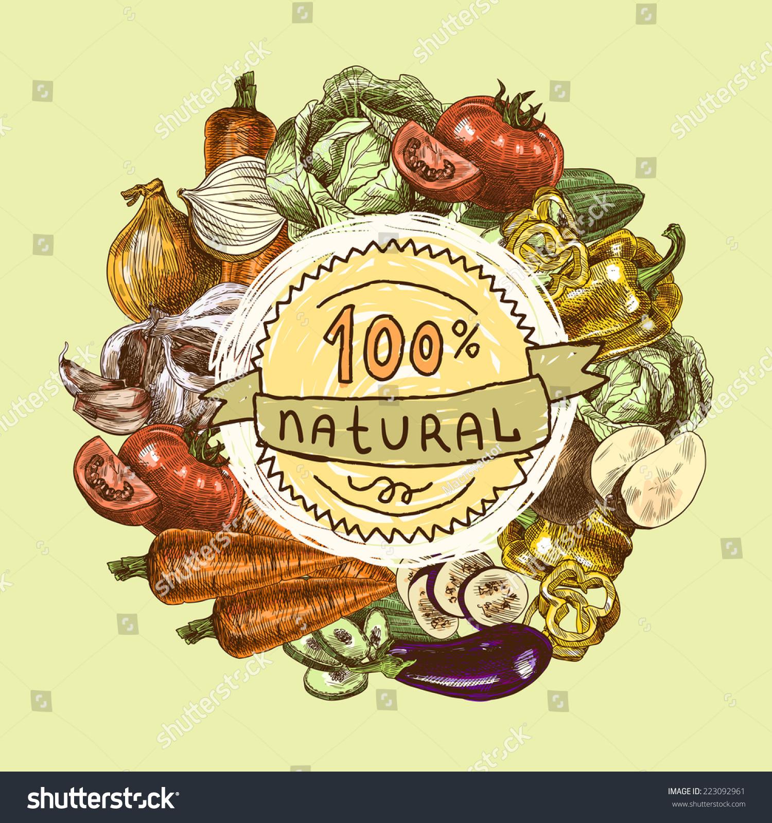 Vegetables Natural Organic Fresh Food Color Stock Vector 223092961 ...