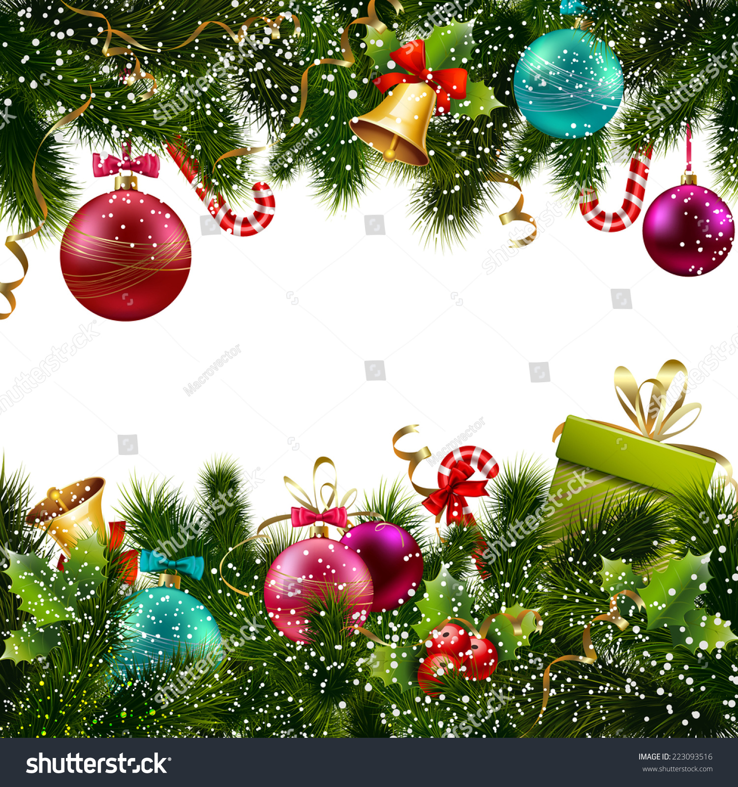 Merry Christmas Happy New Year Greeting Stock Vector 223093516 ...