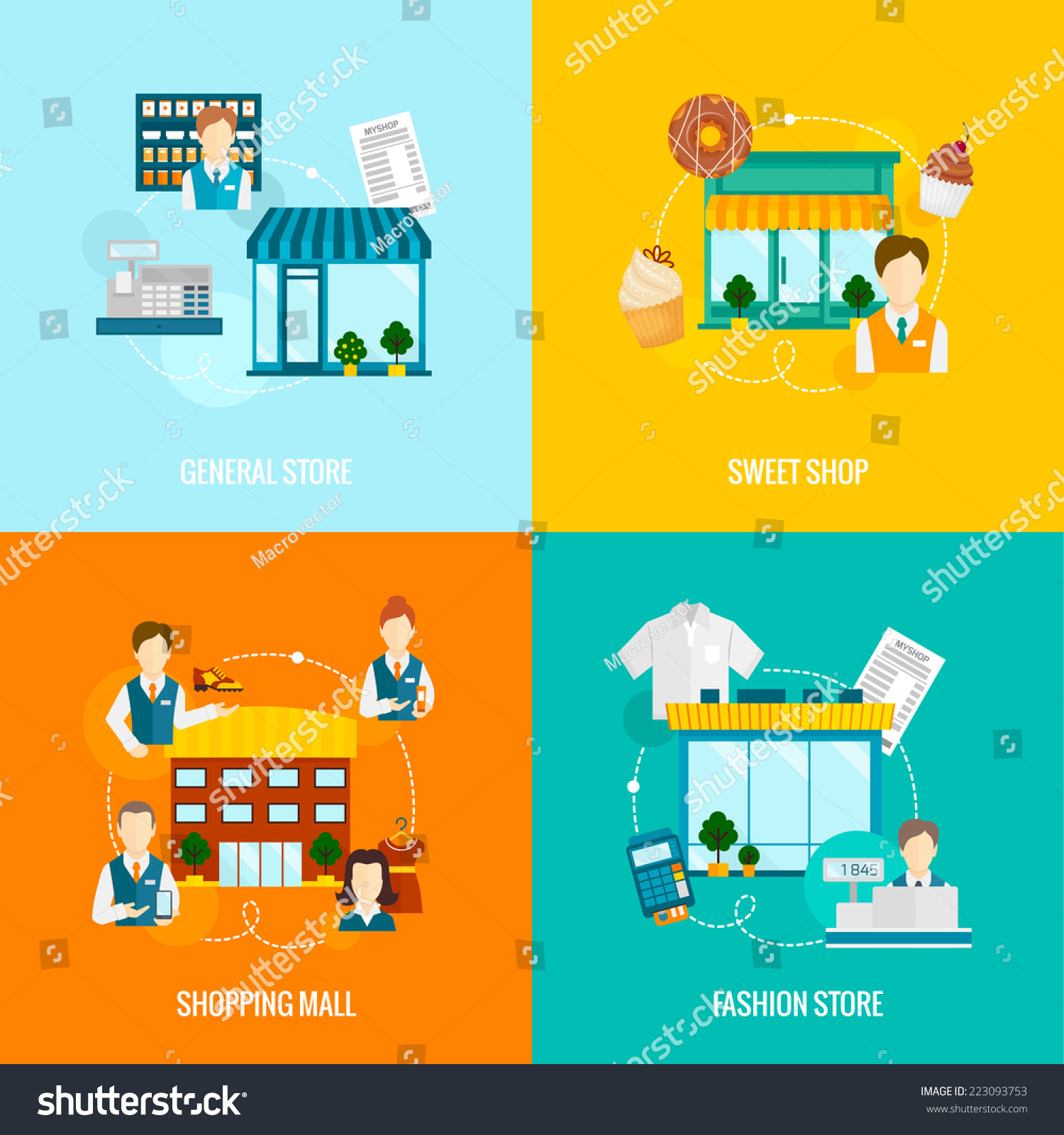 General Store Stock Photos General Store Stock Images: Store Buildings Flat Icons Set With Sweet Fashion General