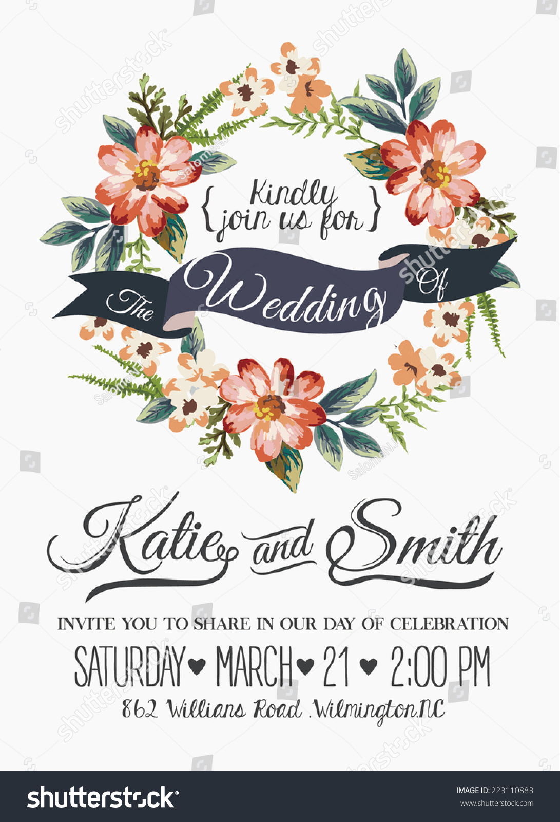 wedding invitation card romantic flower templates stock vector, flower ...