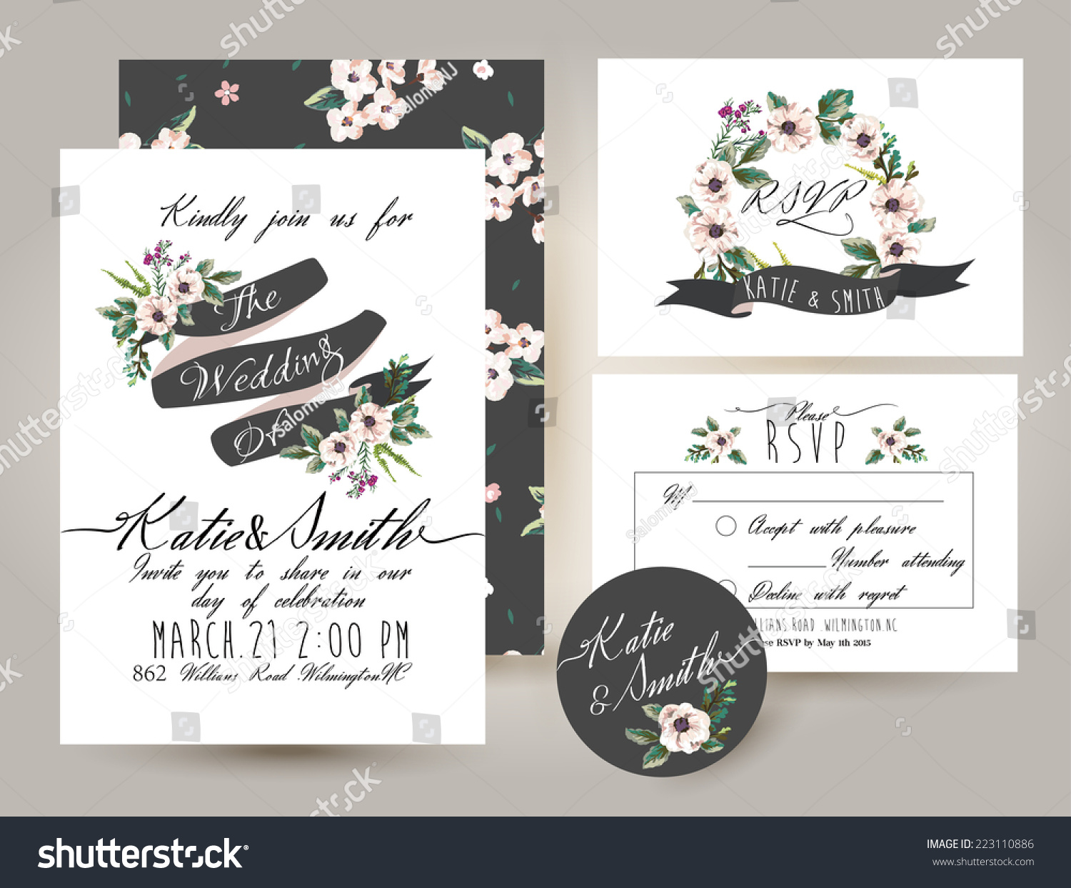 Wedding Invite Card Stock: Wedding Invitation Card Suite Romantic Flower Stock Vector