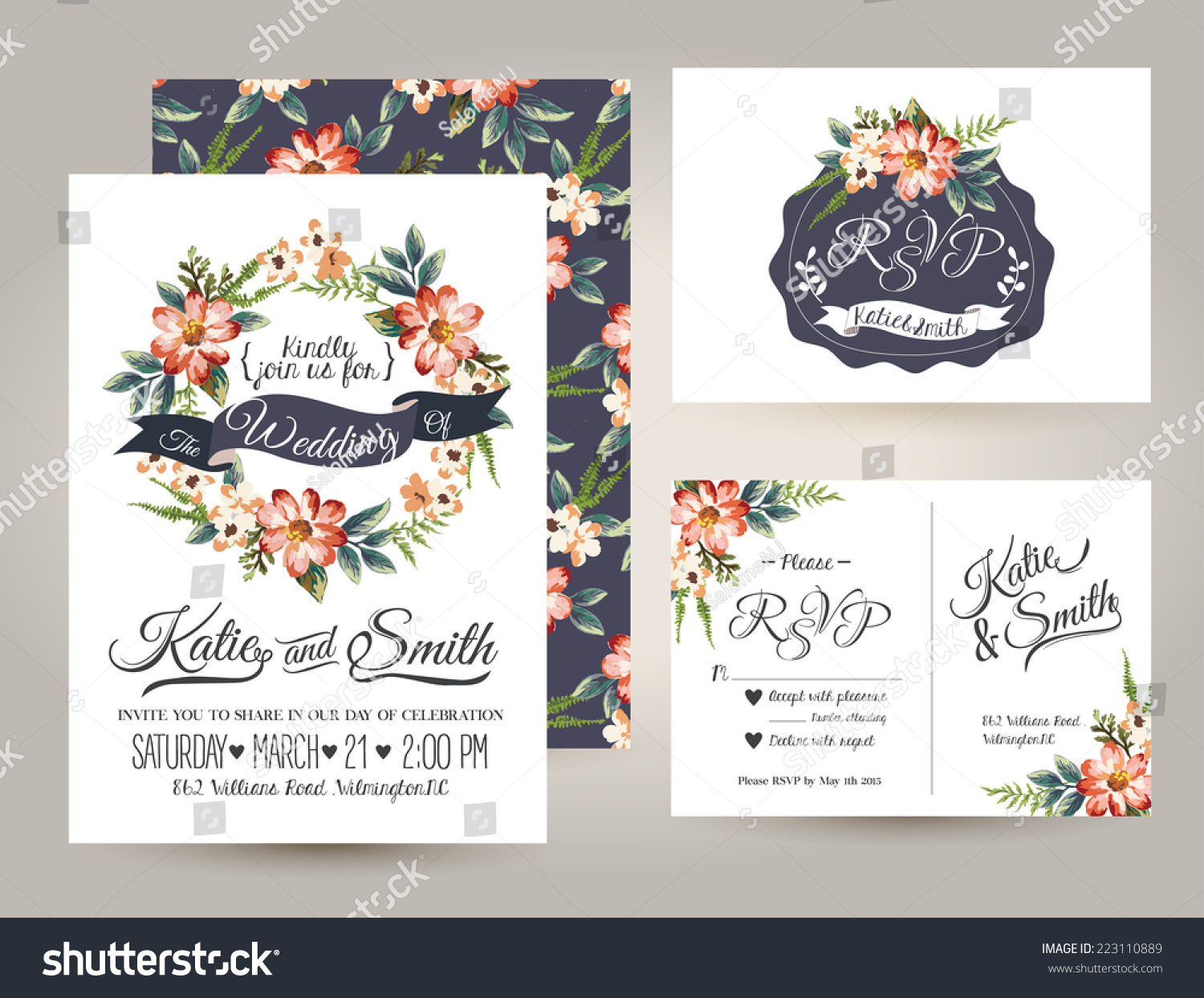 Wedding Invite Card Stock: Wedding Invitation Card Suite Daisy Flower Stock Vector