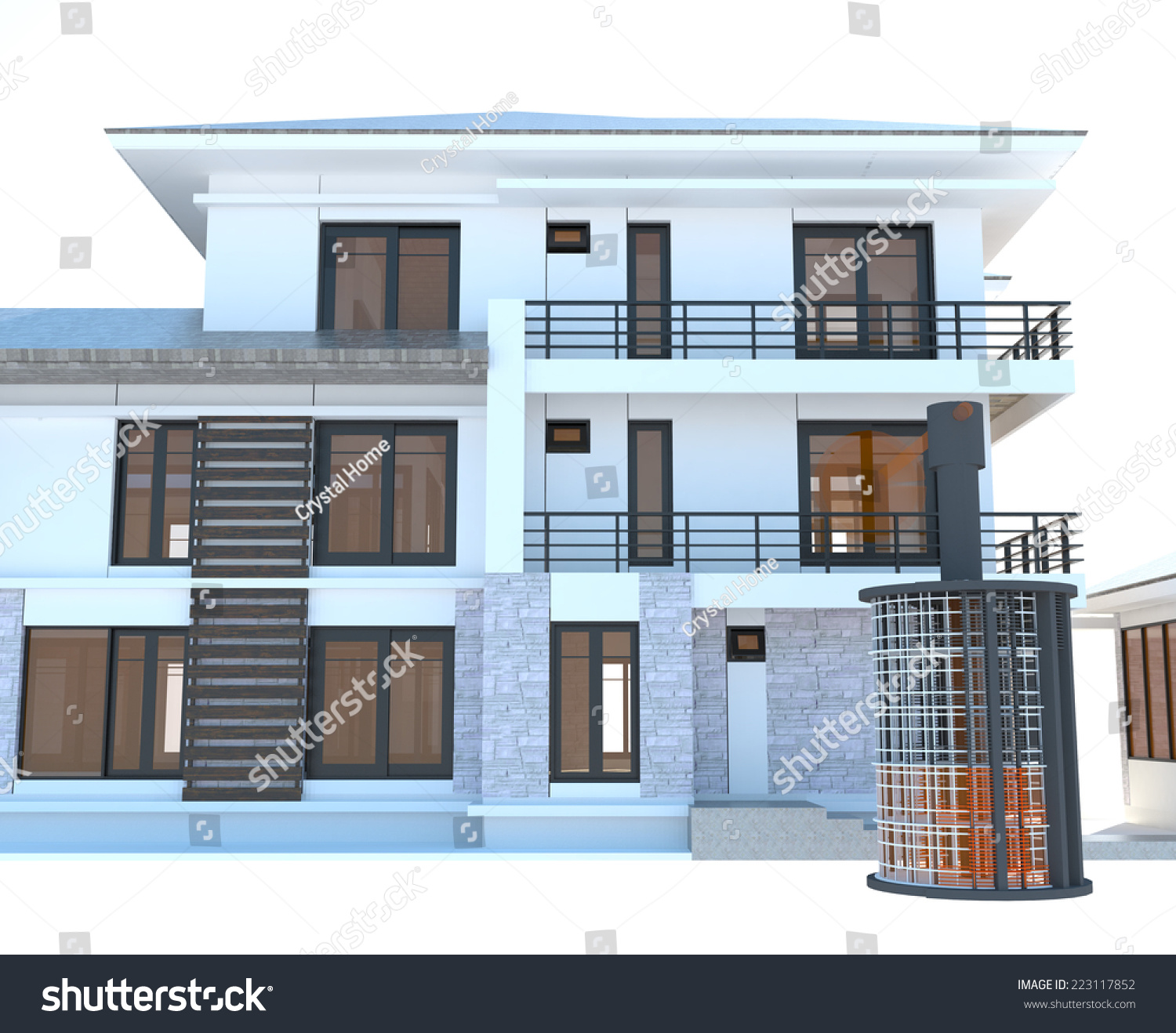 Future Residential Apartment Huge Outer Battery Stock Illustration