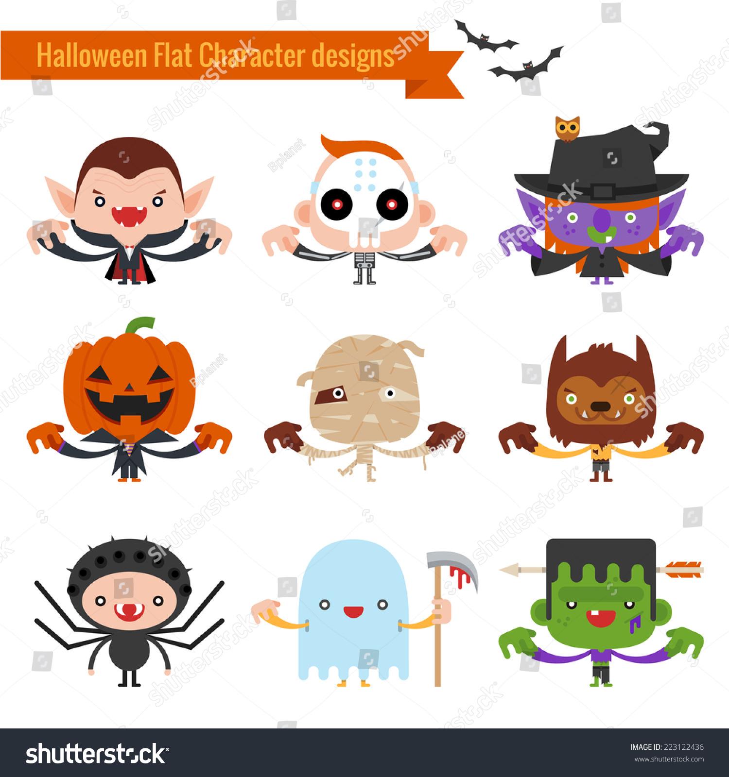 Halloween Character Design Challenge : Halloween character icons flat design stock vector