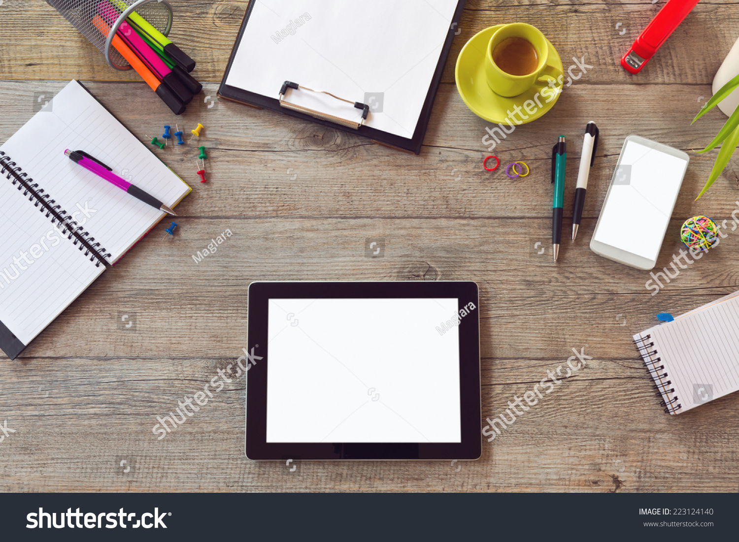 office desk mock template table smart stock photo  office desk mock up template table smart phone notebook and cup of coffee