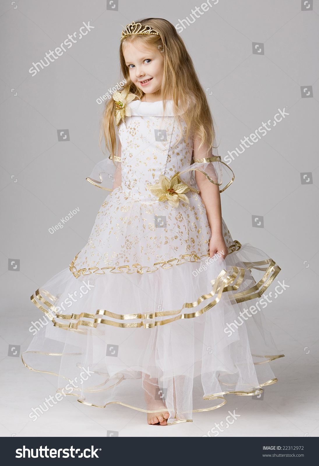 Beautiful Little Girl Princess Dress Long Stock Photo 22312972 ...