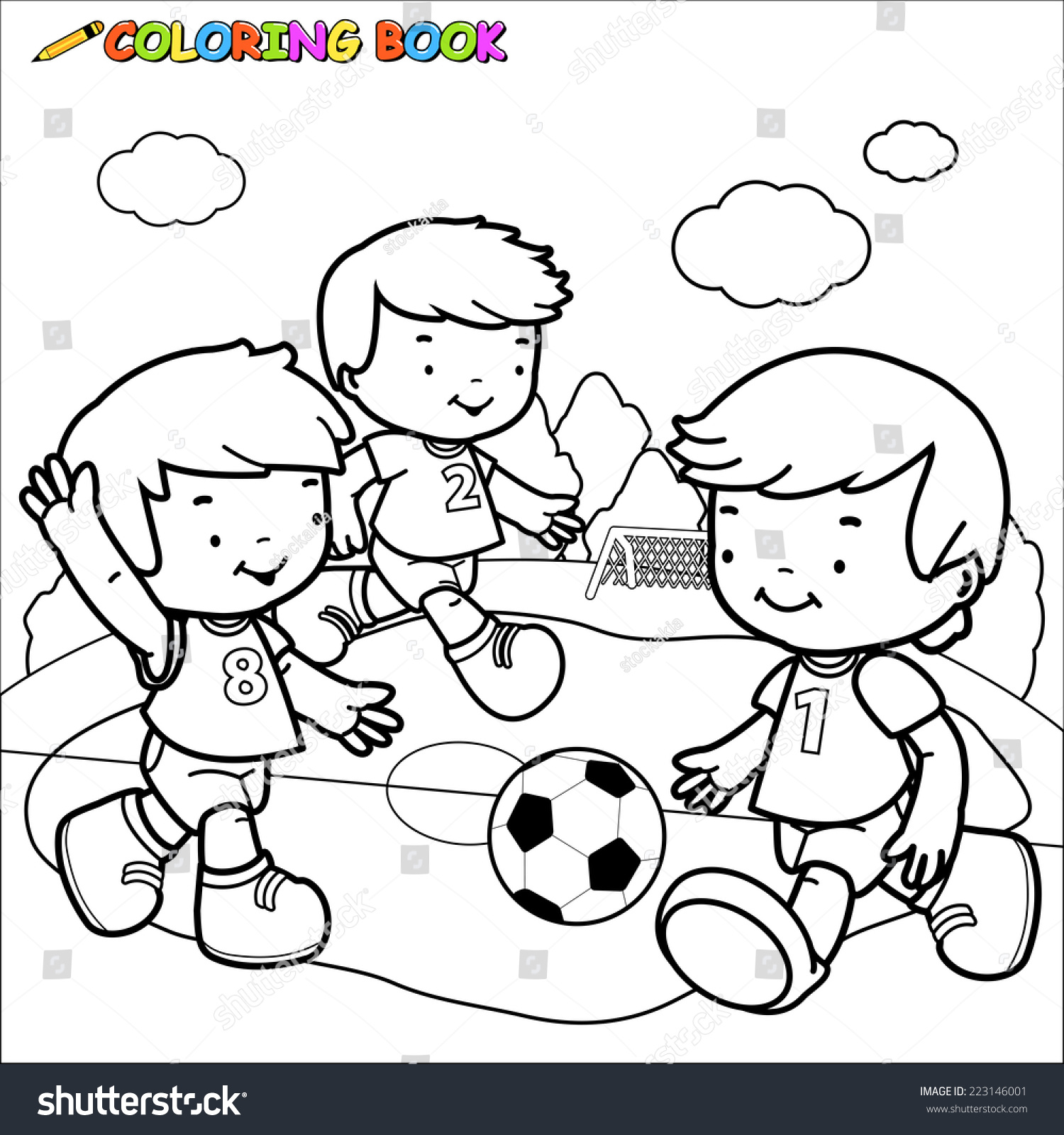 Outline image of three little boys playing football coloring book